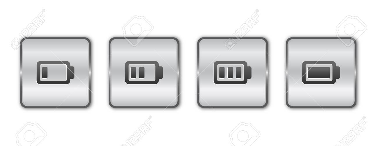Chrome battery button vector Stock Vector - 15214192