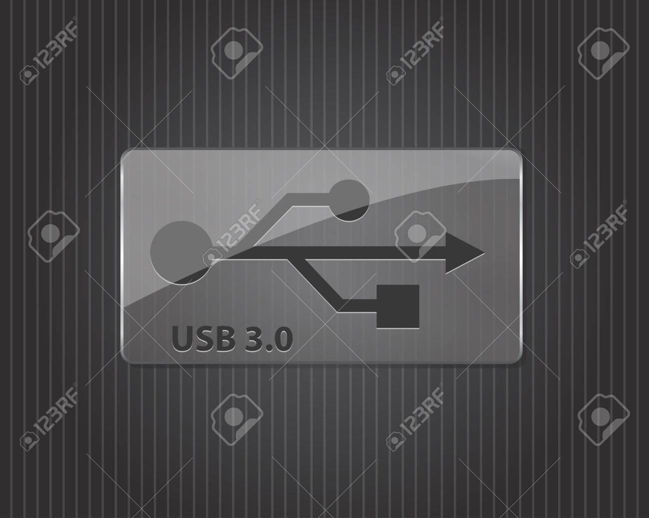 USB 3.0 glass sign- illustration Stock Vector - 16319836