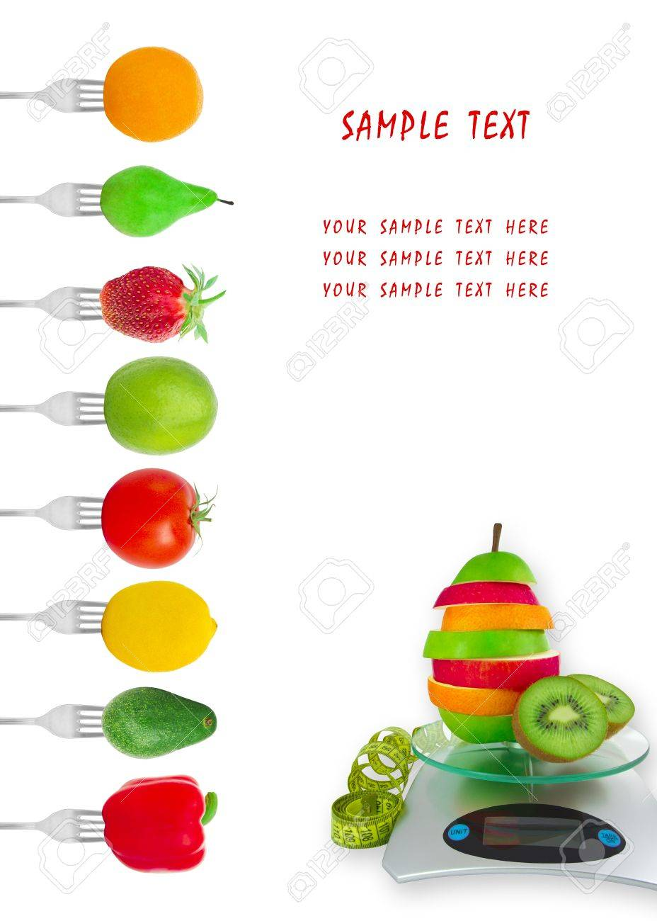 Dietary menu with vegetables and fruit on forks Stock Photo - 14330857