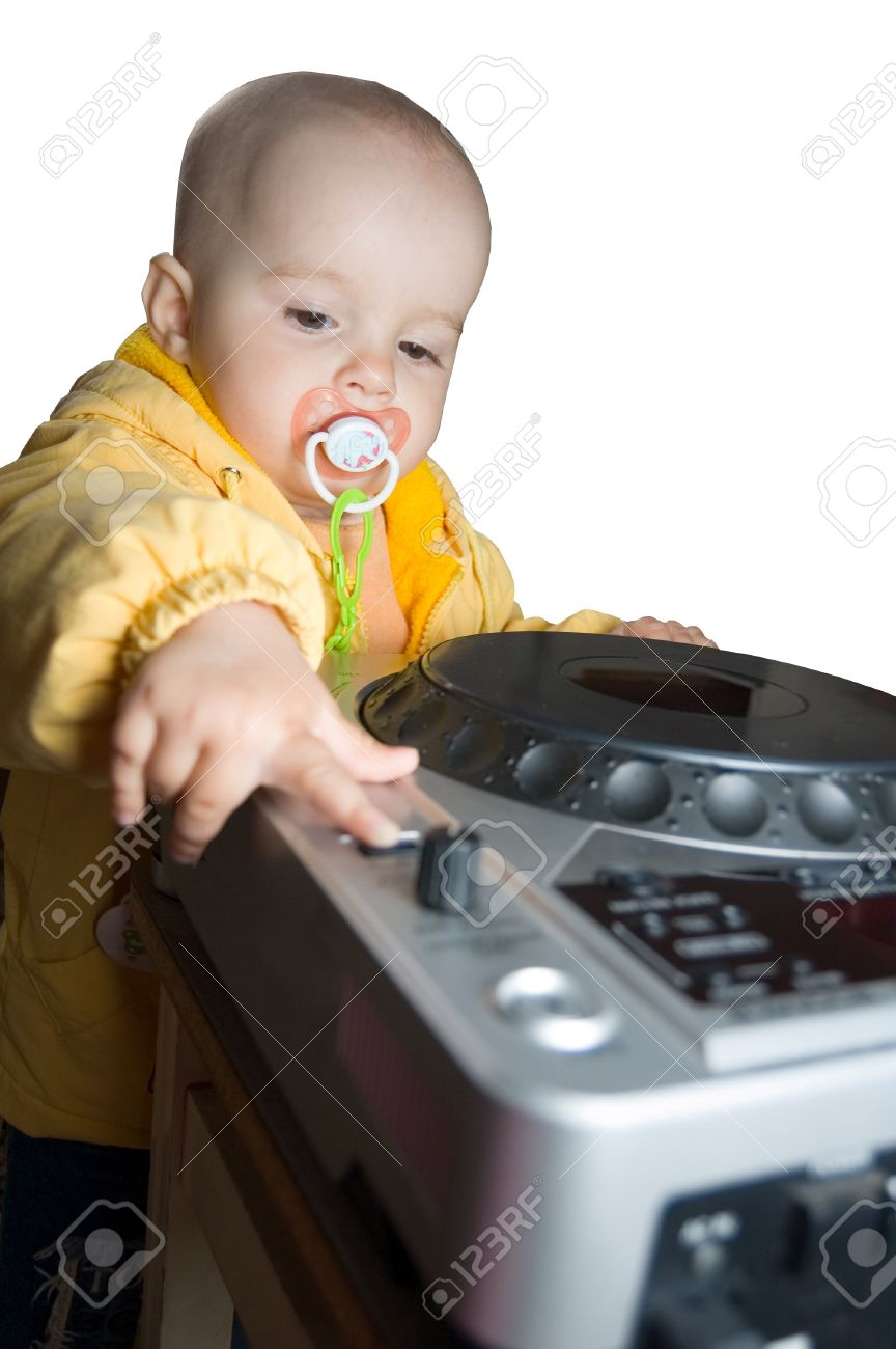 little dj baby girl, newborn star, isolated on white stock photo