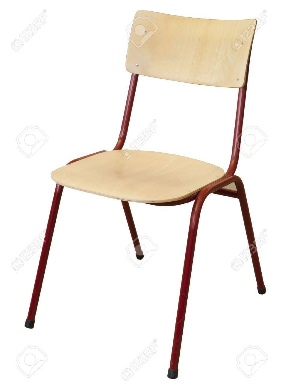 metal and wood school chair