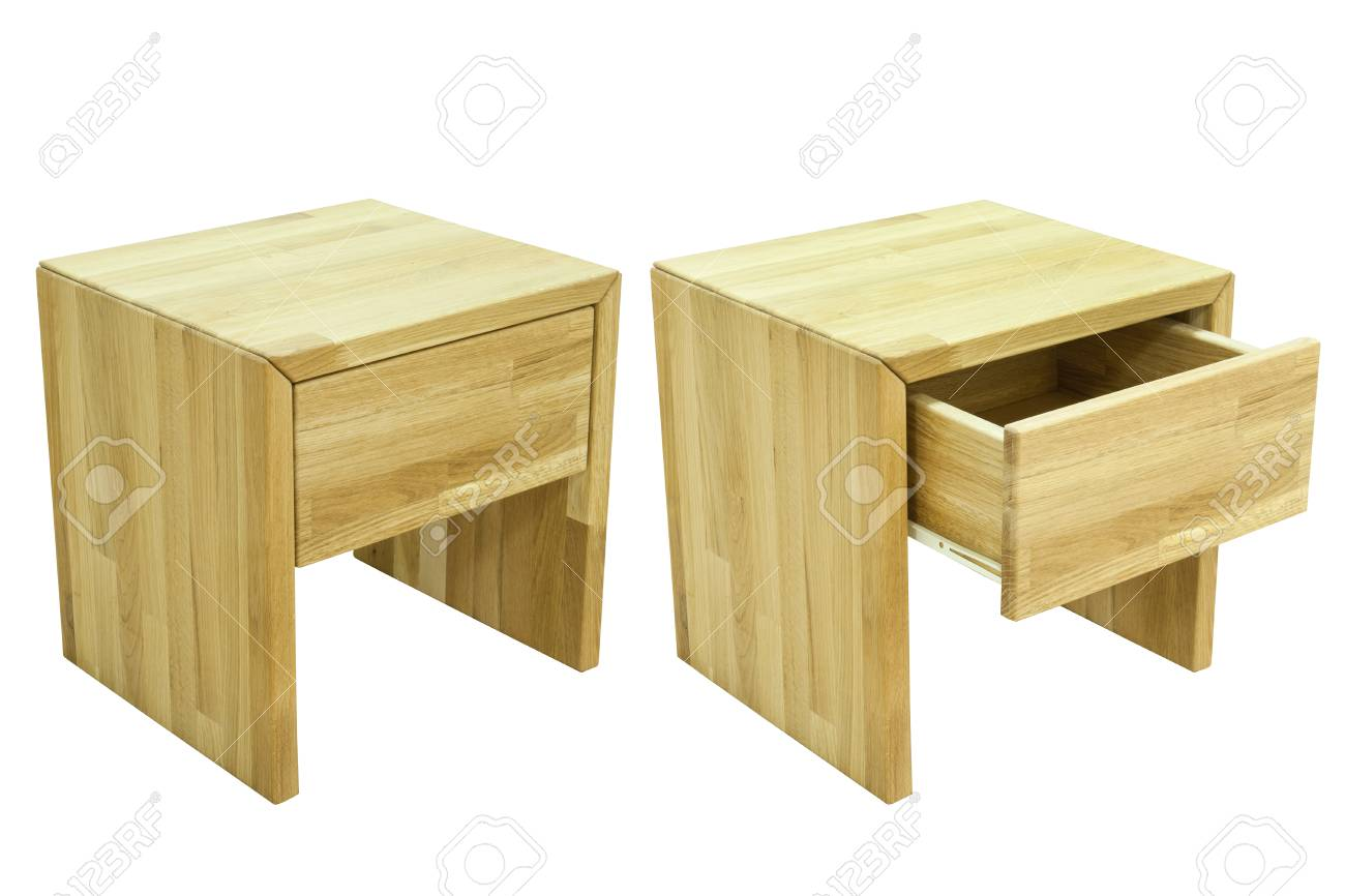 wood bedside table on white background Stock Photo - 22866587