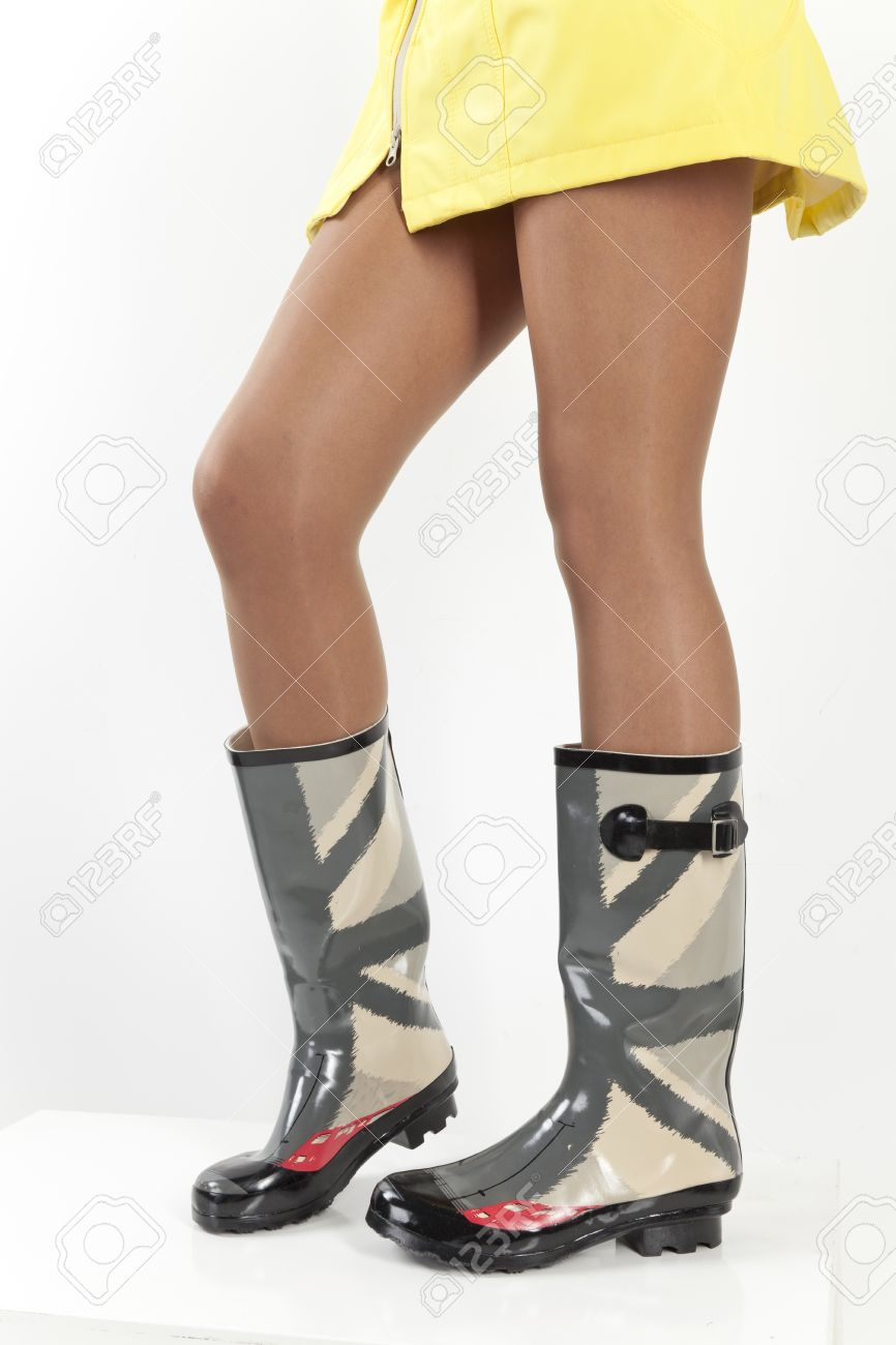Women Legs In Rubber Boots Stock Photo, Picture And Royalty Free ...