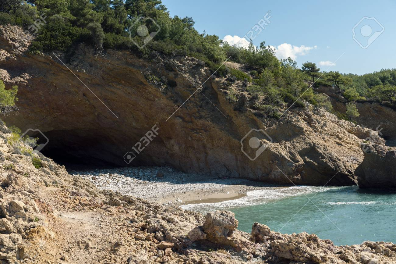 hidden beaches with caves on island Thasos in Greece