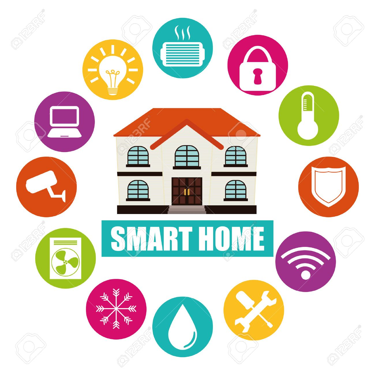 Smart Home Design Vector Illustration Graphic Royalty Free