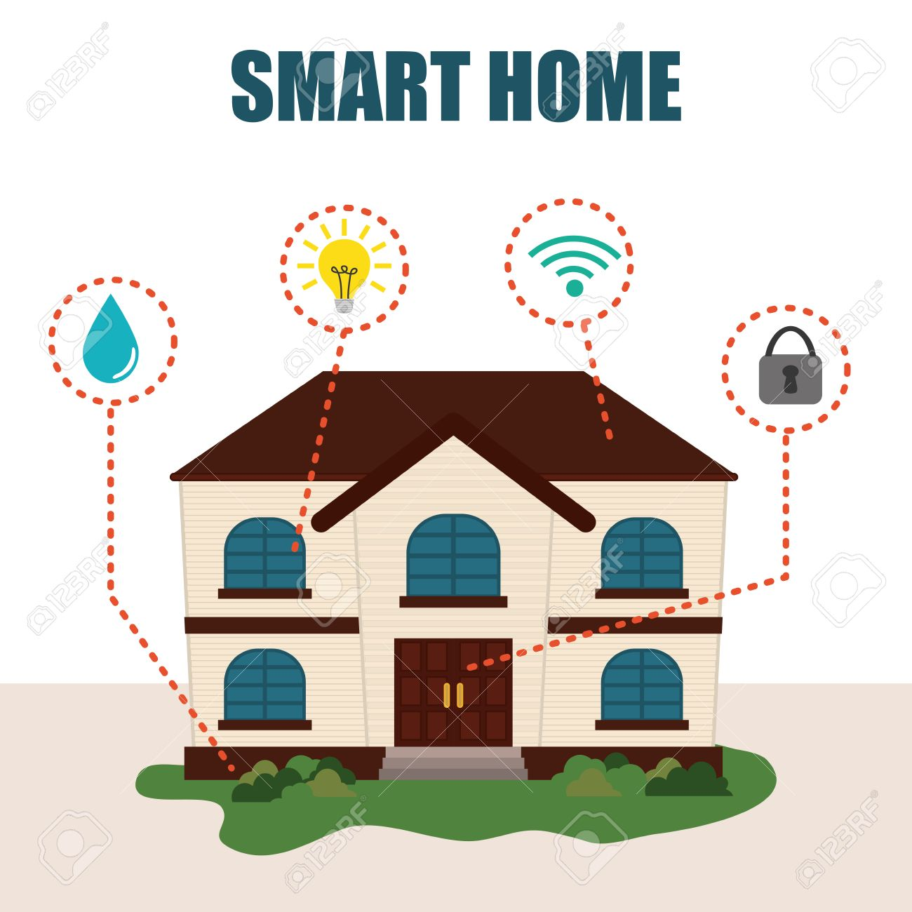 Smart Home Design Smart Home Green Wired Vector Smart Home Design Vector  Illustration Eps10 Graphic