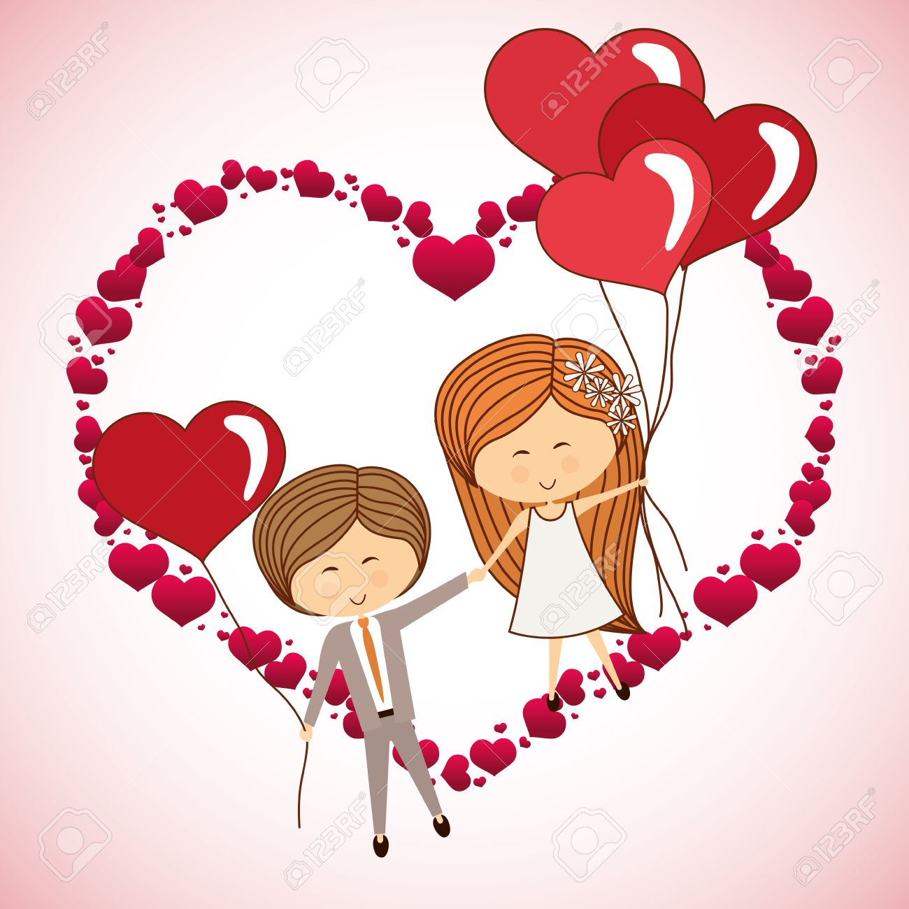 202d63f29 love concept with heart and cartoon couple design, vector illustration  Stock Vector - 44613835
