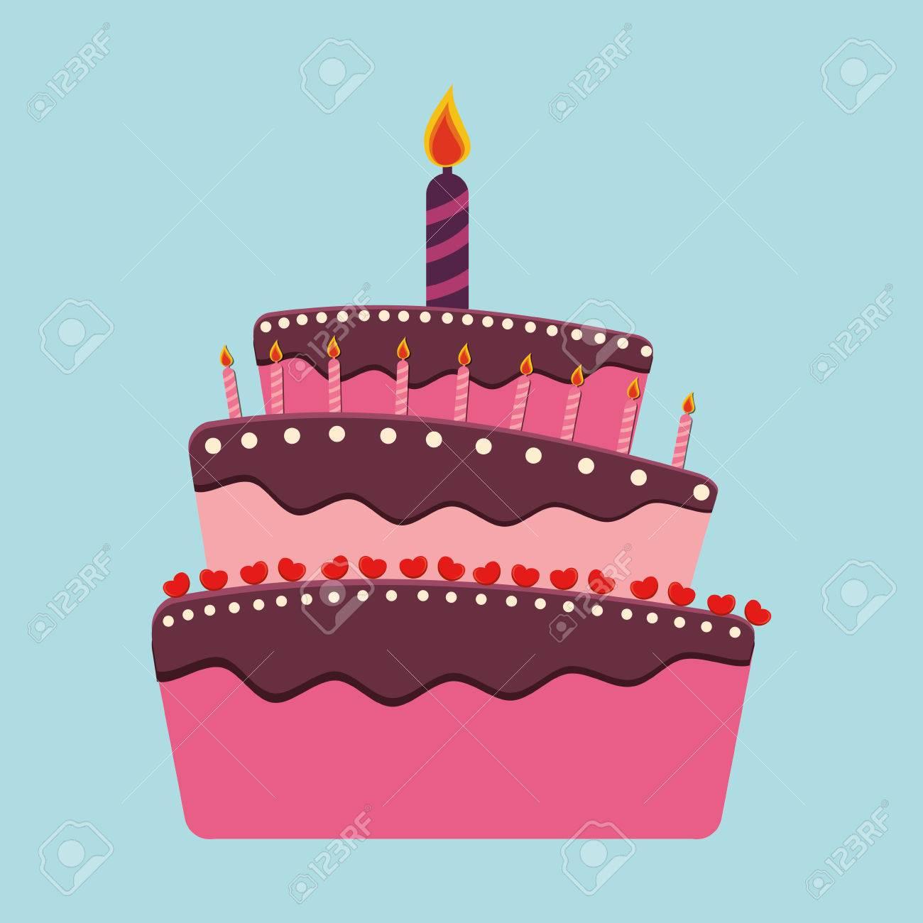 Birthday Cake And Desserts Icon Design Vector Illustration Stock