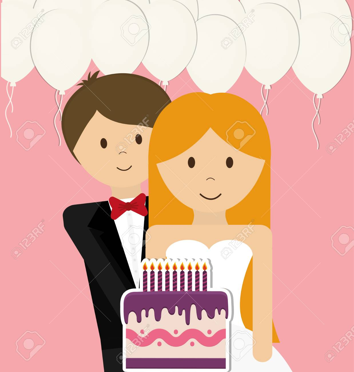 Wedding Couple Concept With Icon Design, Vector Illustration ...