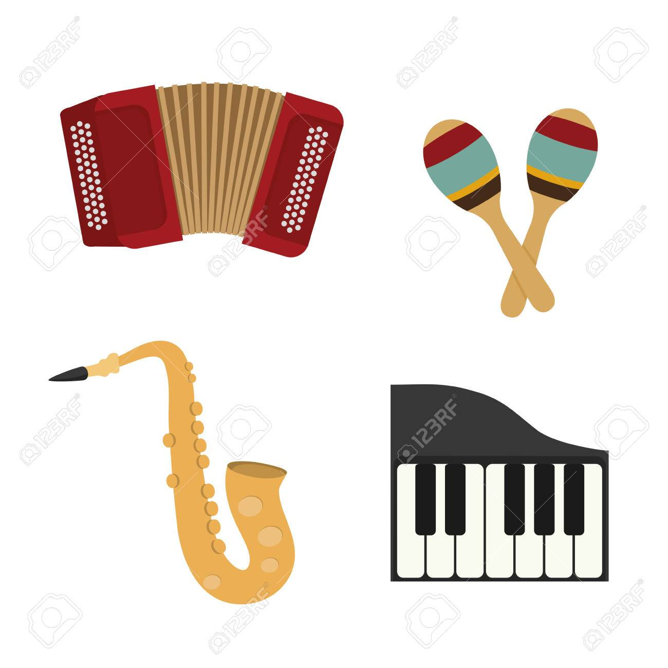 Music instrument concept represented by accordion,piano, maraca