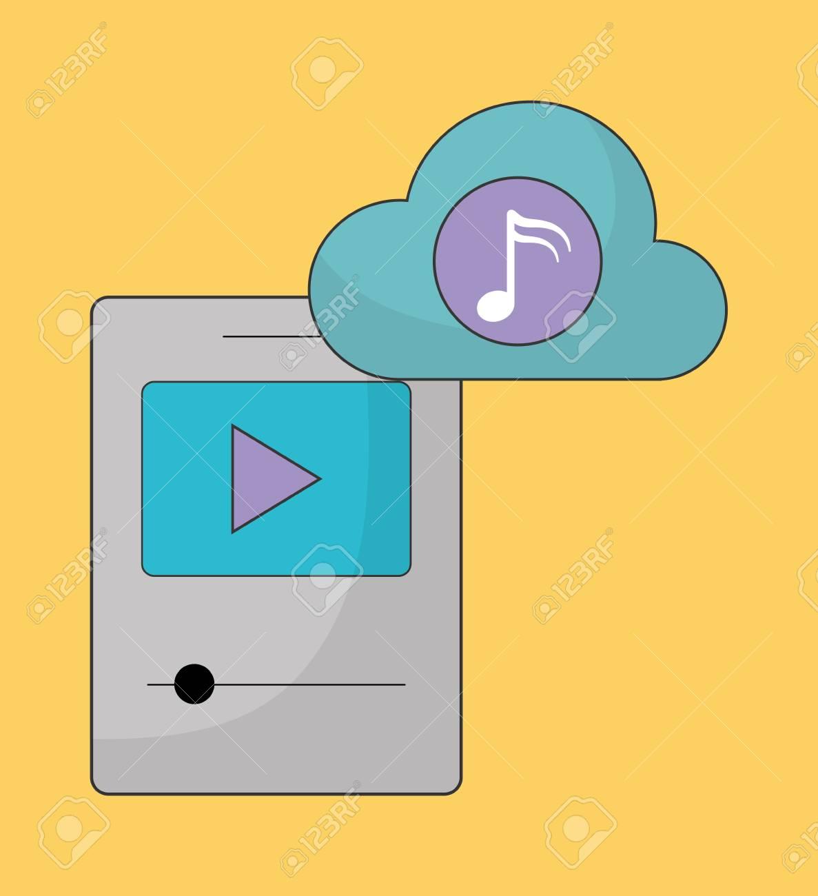 Música en línea representada por play, cloud, music note e ícono mp3   Ilustración colorida y plana