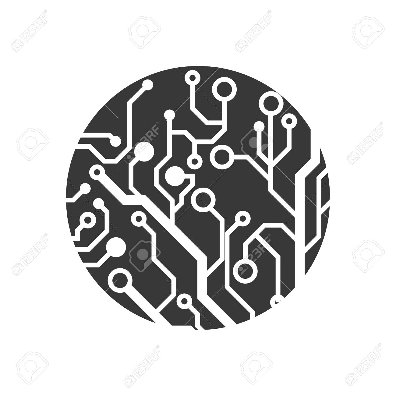 Technology Concept Represented By Circuit Board Circle Icon Wall Clock Isolated And Flat Illustration Stock Vector