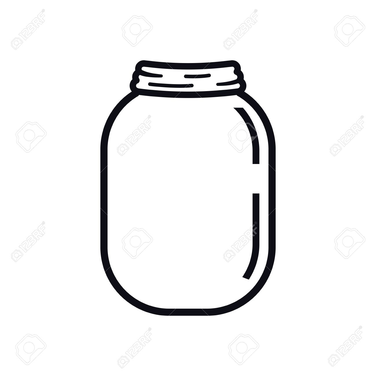 Mason Jar Glass Rustic Can Icon Isolated And Flat Illustration