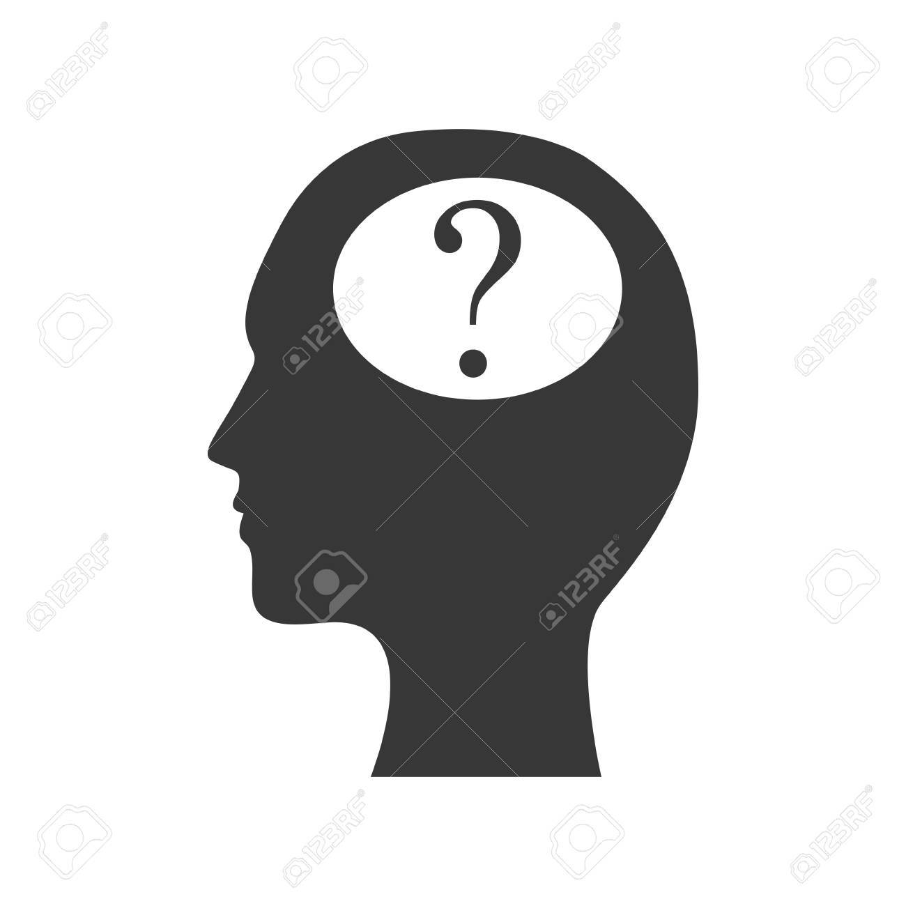 Head Man Question Mark Ask Symbol Problem Icon. Isolated And ...