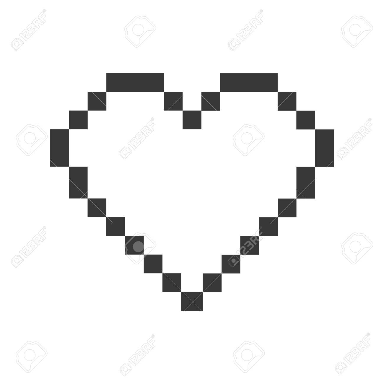 Coeur Pixel Amour Romantique Icône De Passion Isolé Et Plat Illustration Vecteur Graphique