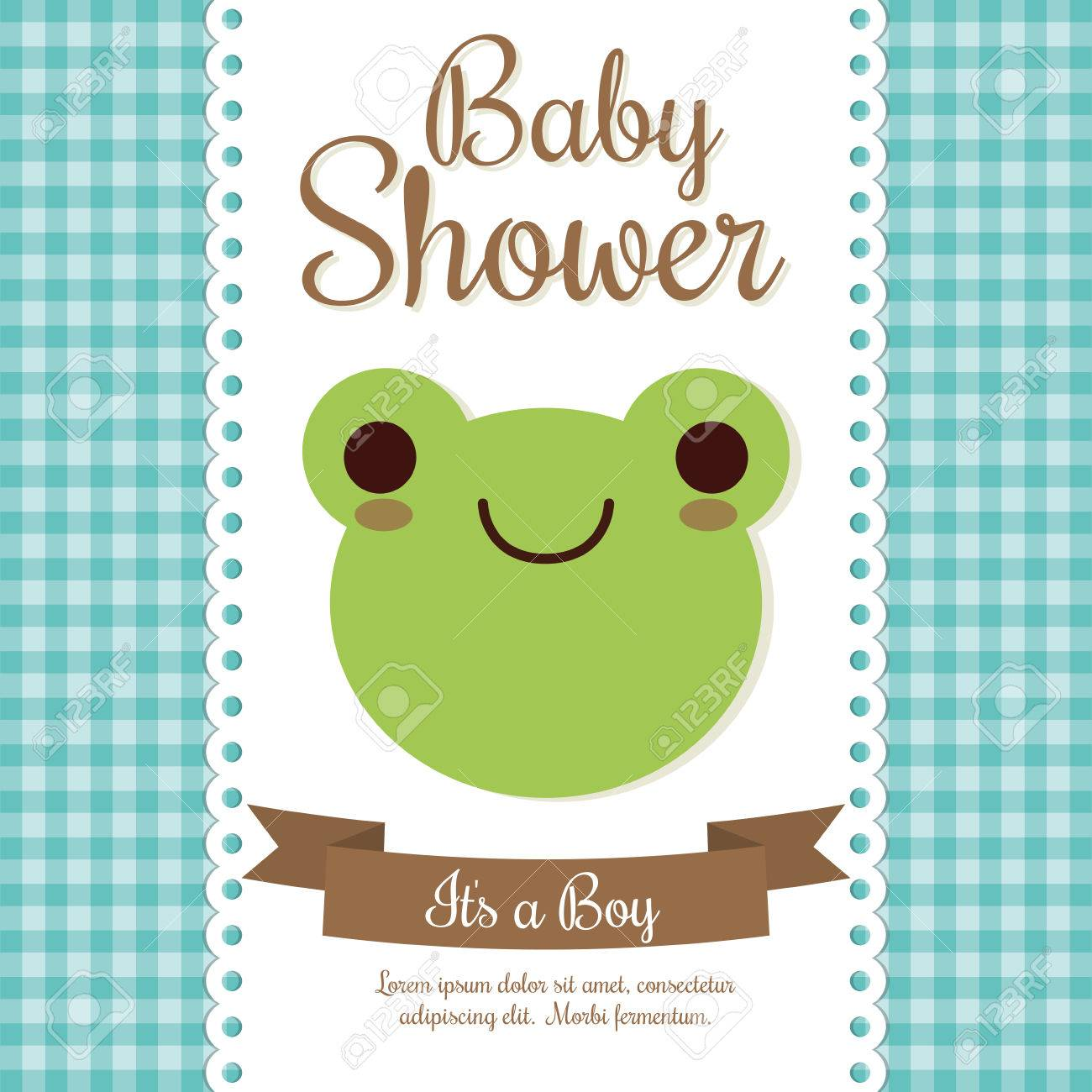 Baby Shower Invitation Design Represented By Frog Cartoon. Pastel ...