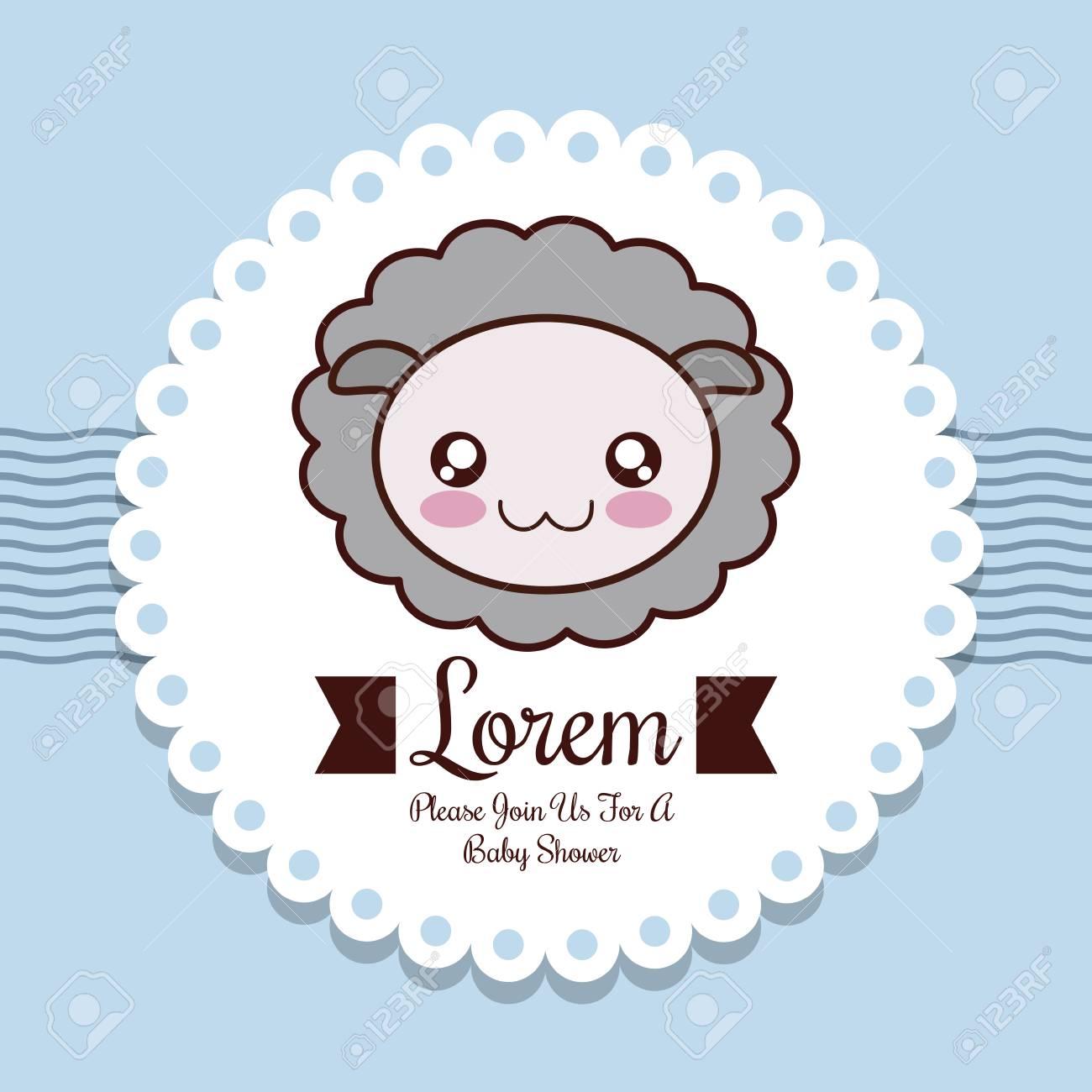 Baby Shower Invitation Design Represented By Sheep Cartoon ...