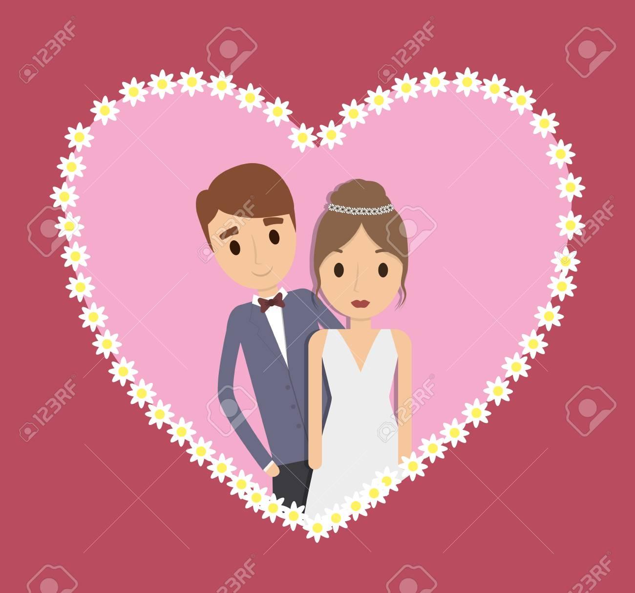 Couple Dessin Animé Coeur Fille Garçon Homme Femme Mariage Icône De Mariage Illustration Colorfull Et Plat Graphique Vectoriel