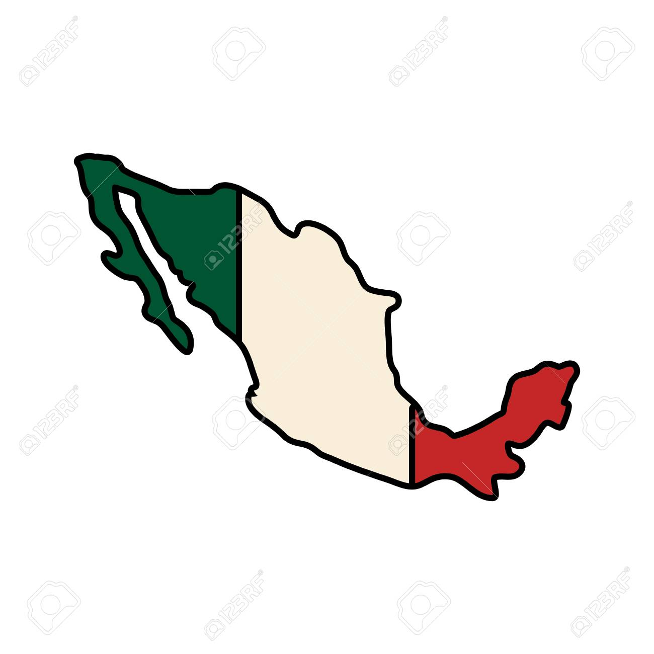 Mexico Map Flag Green White Red Icon Isolated And Flat Illustration