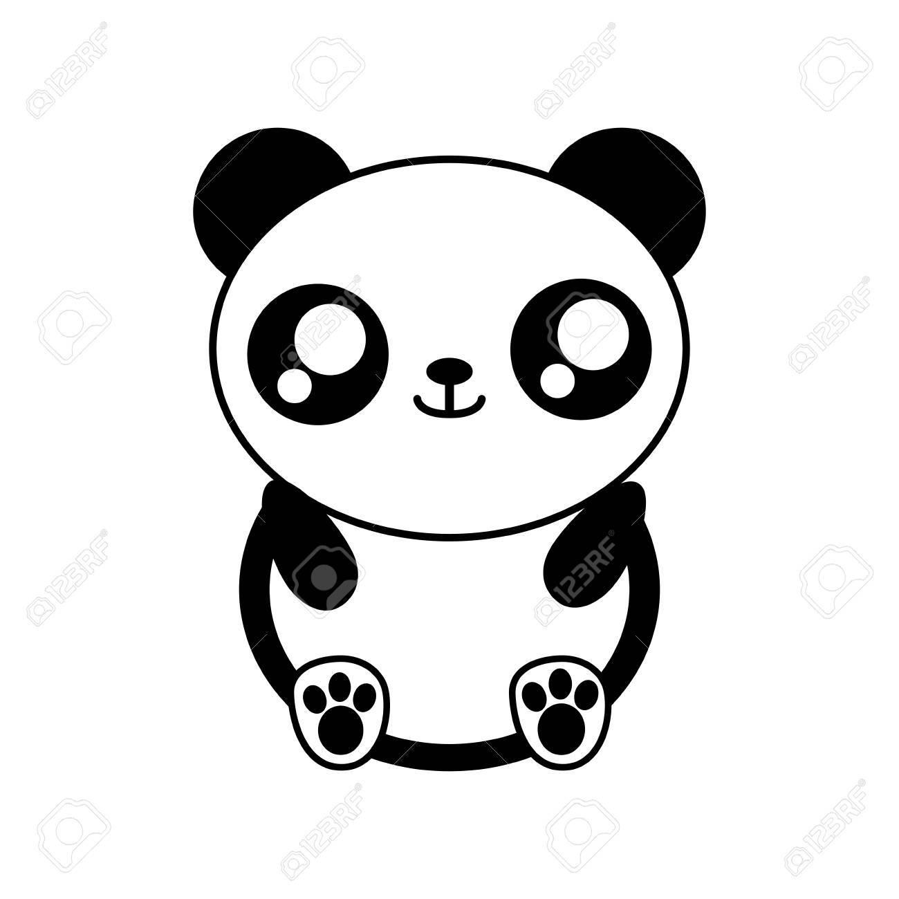 Ours Panda Kawaii Animal Mignon Petite Icône Isolé Et Plat Illustration