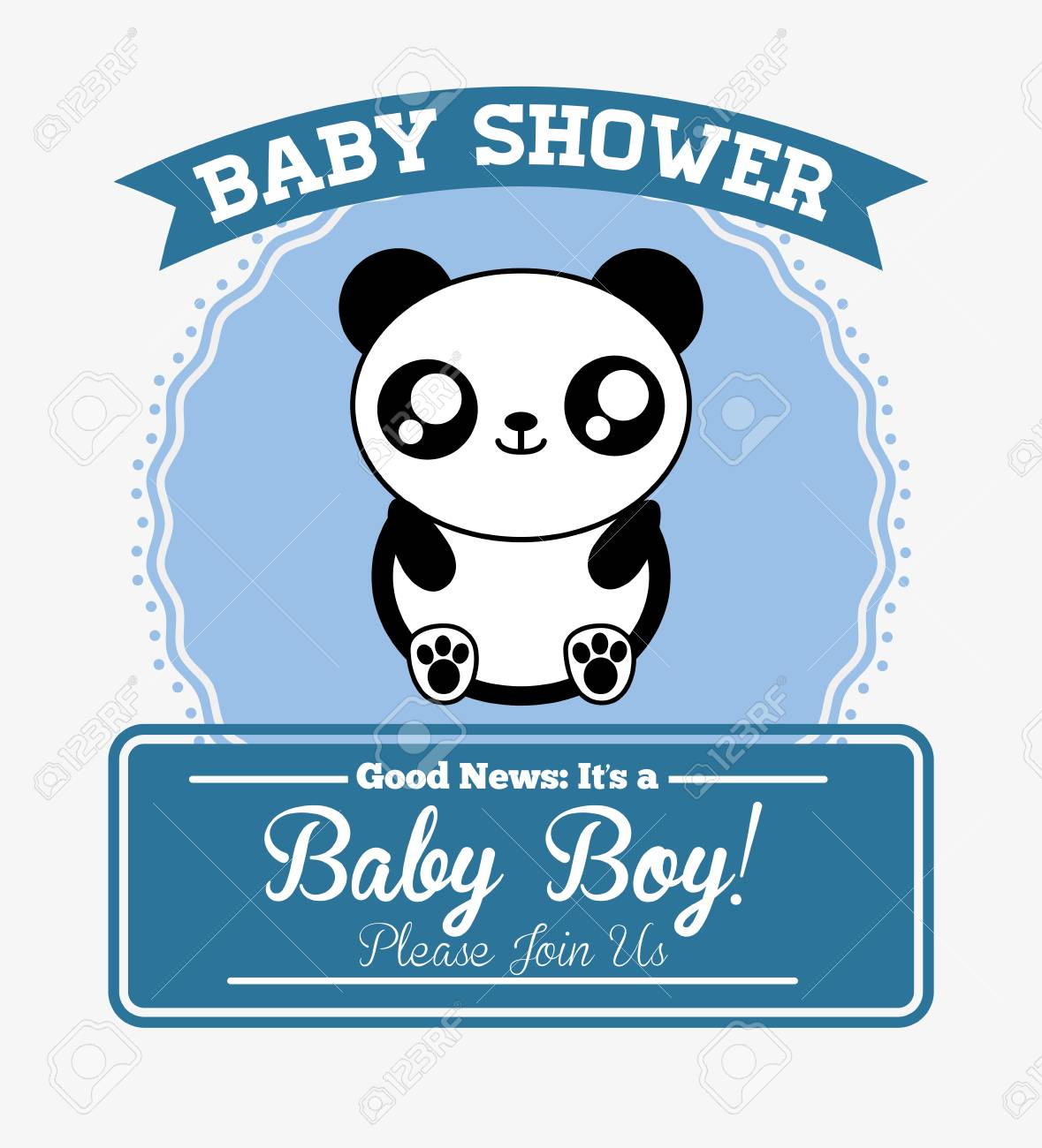 Icone De Carte De Douche Bebe Panda Mignon Animal Dessin Anime