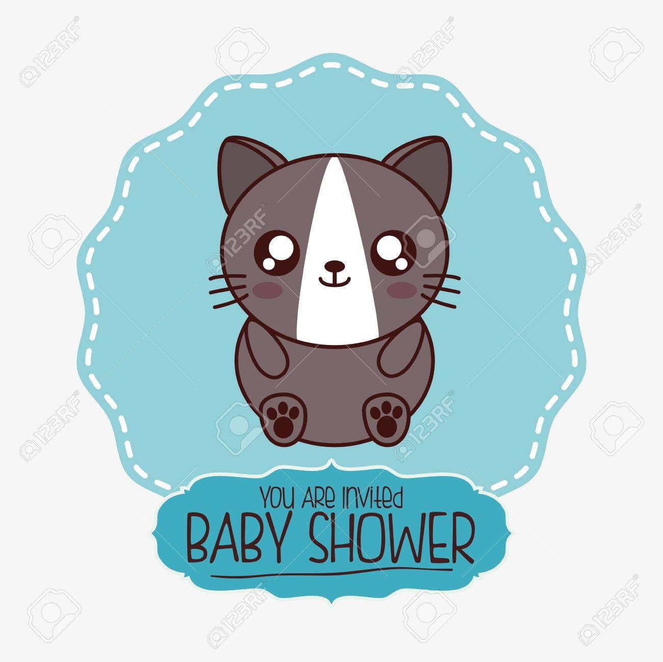 Gato Del Dibujo Animado Del Kawaii Icono De La Ducha Del Bebe
