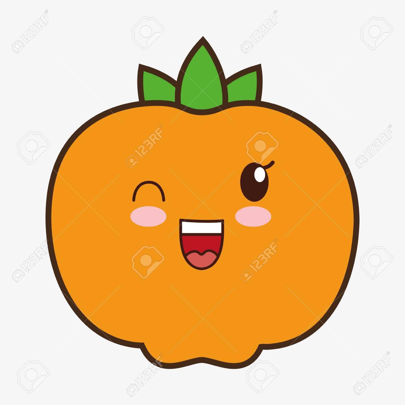 みかんかわいい漫画の笑顔健康食品アイコン カラフルでフラット デザイン ベクトル図のイラスト素材 ベクタ Image