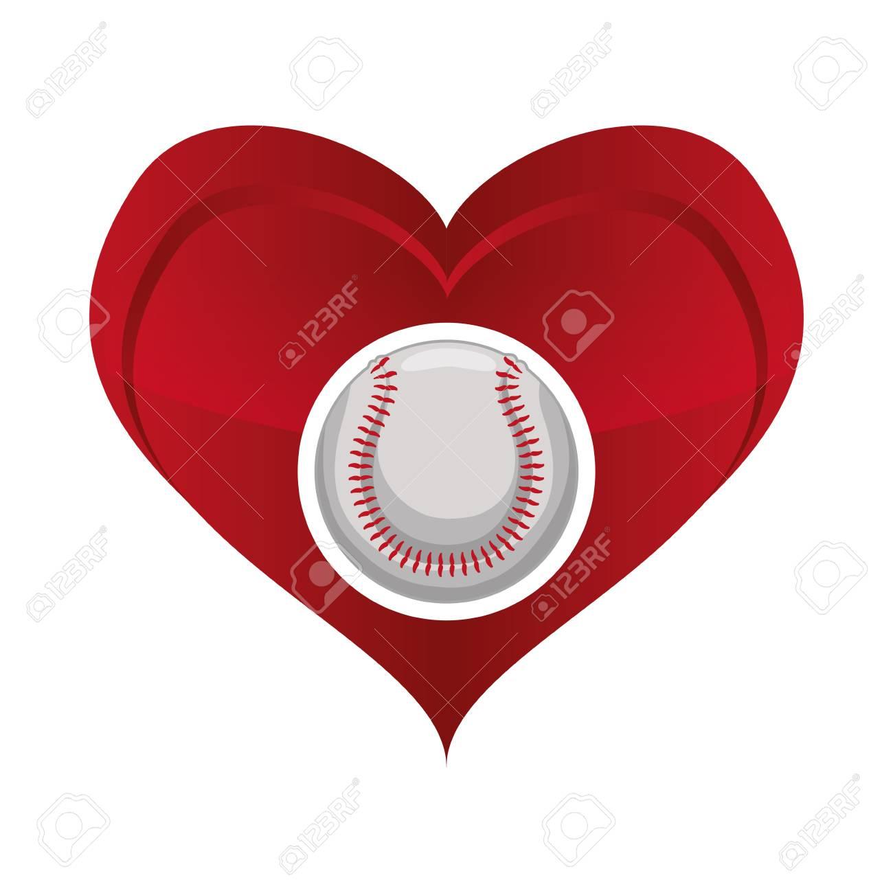 ball heart baseball sport competition game hobby icon flat and rh 123rf com Baseball Bat Vector Silhouette Baseball Bat Vector Silhouette