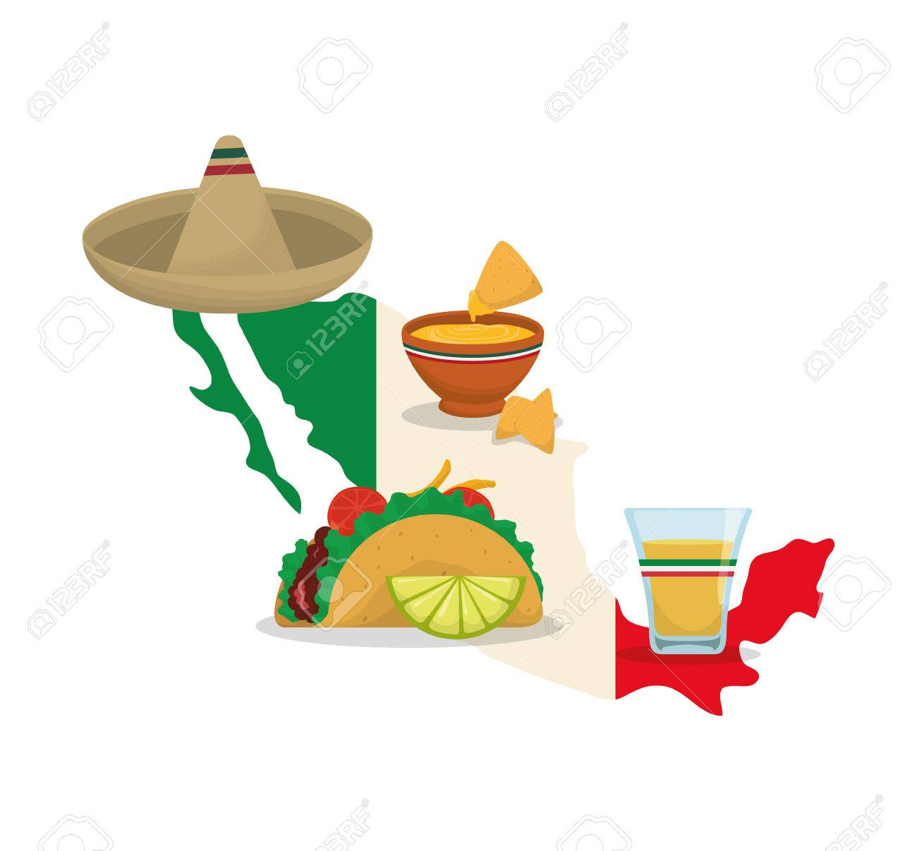 Map Hat Taco And Tequila Mexico Landmark And Mexican Culture