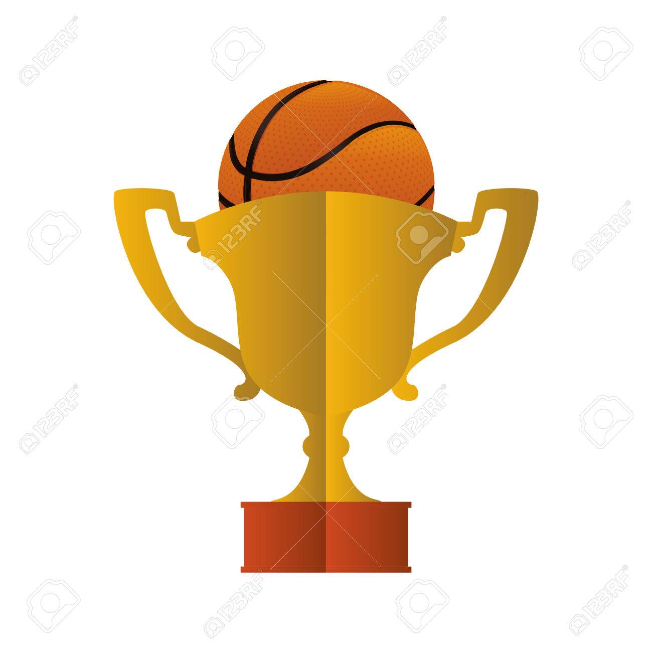 Gold Trophy Cup And Ball Icon Basketball Sport Competition Theme Isolated Design