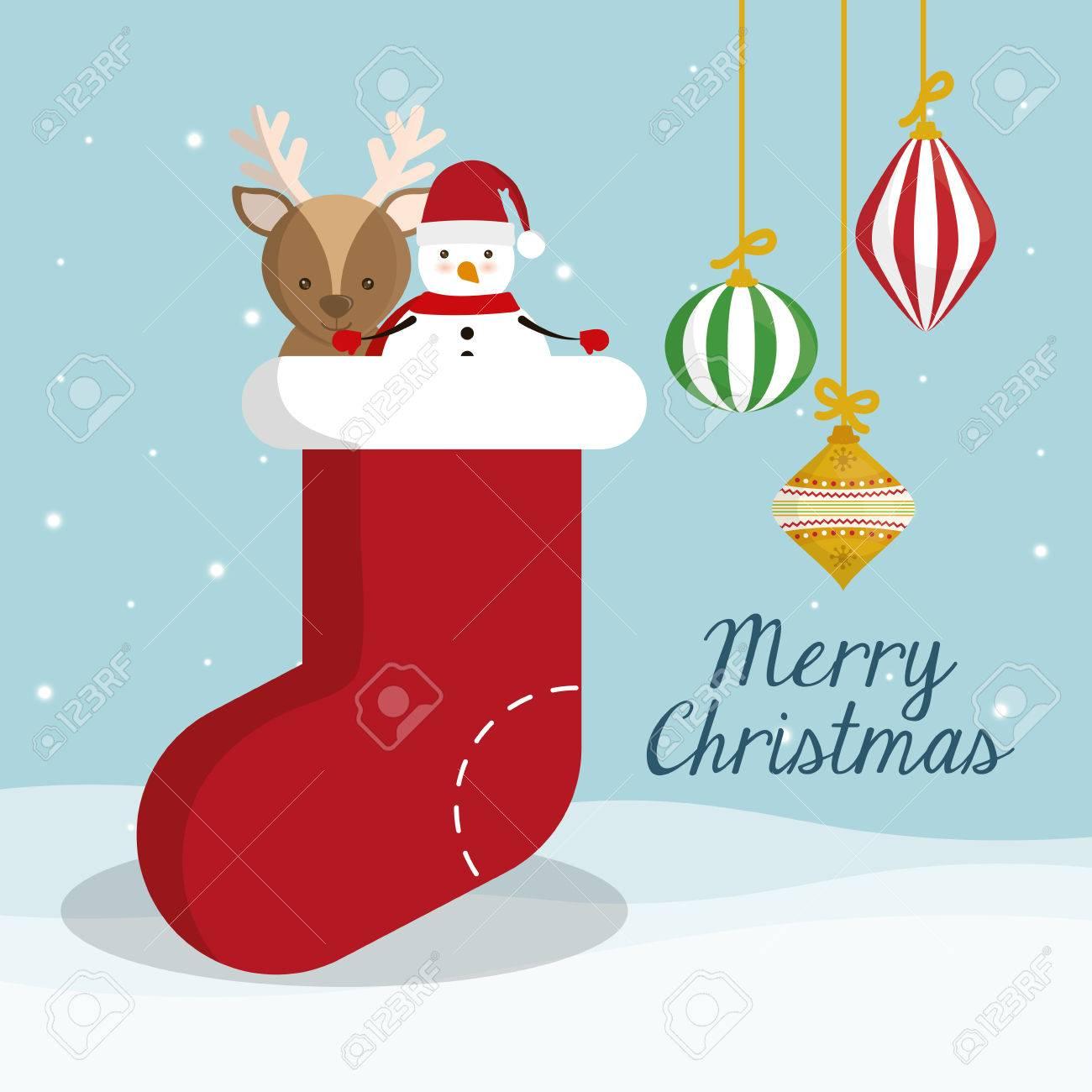 Inicio Feliz Navidad.Muneco De Nieve Y Renos En El Interior Del Icono De Inicio Decoracion Feliz Navidad Y Tema De La Temporada El Diseno Colorido Ilustracion Vectorial