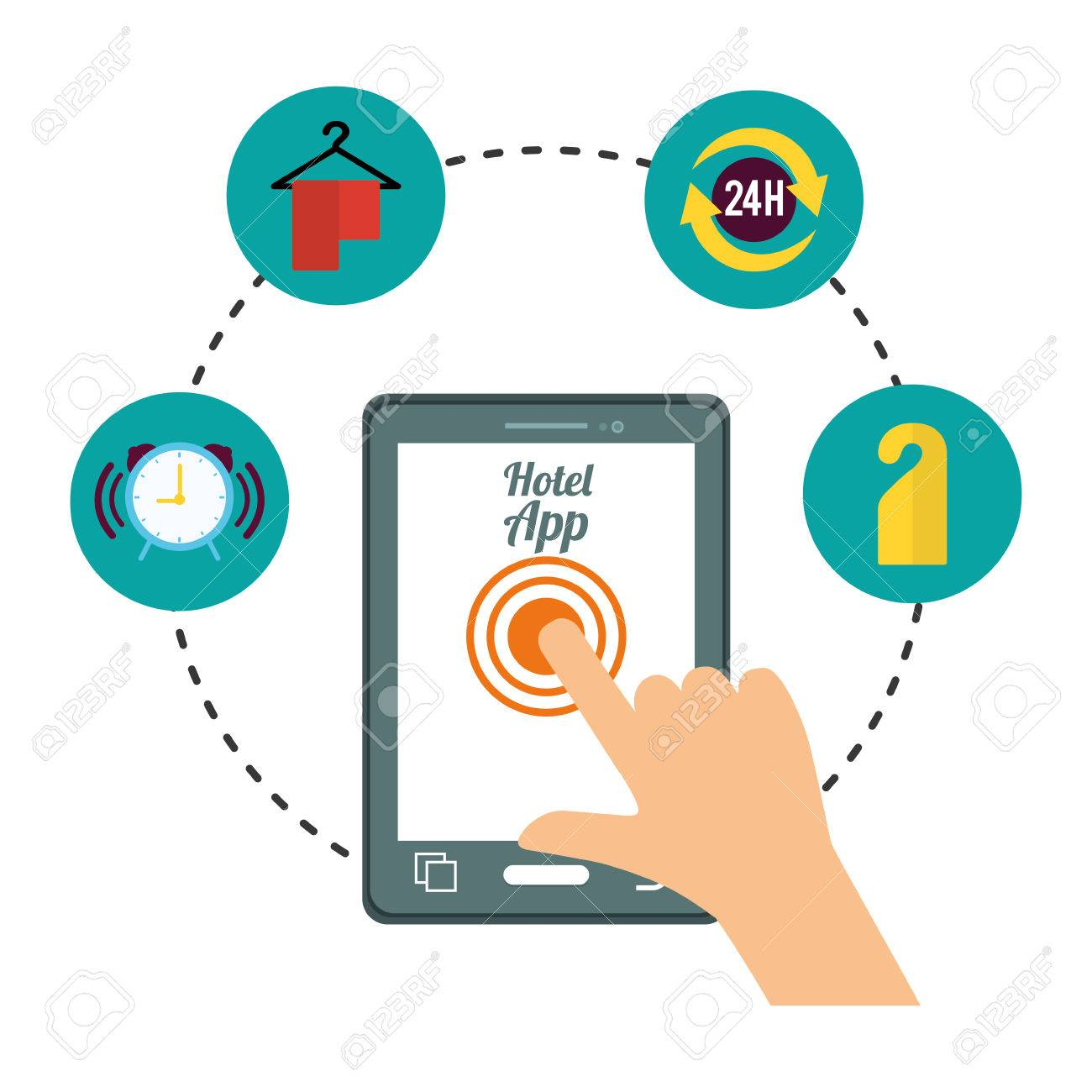 Smartphone hand and hotel apps icon set  Service technology media