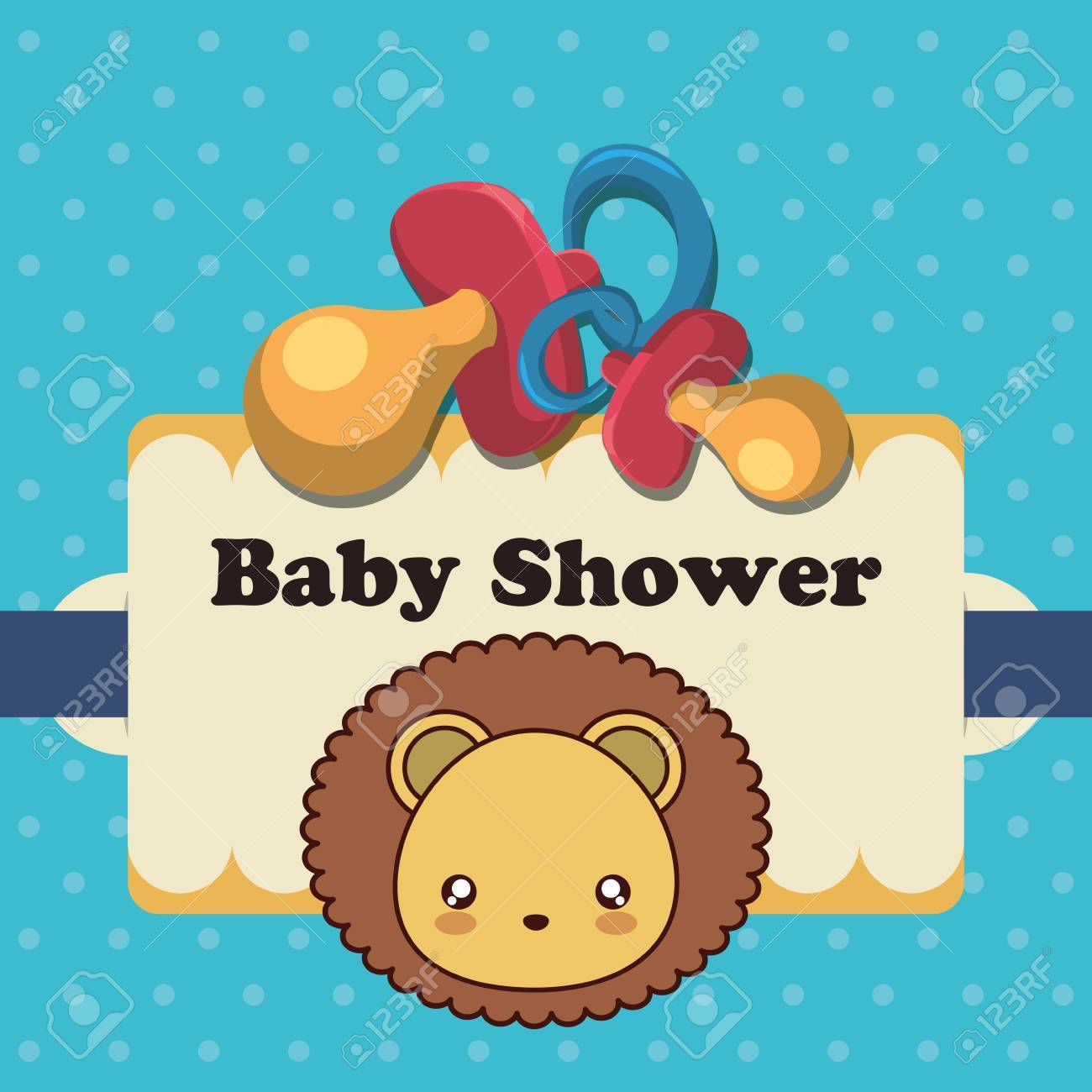 Pacifier And Lion Icon. Baby Shower Invitation Card. Colorful ...