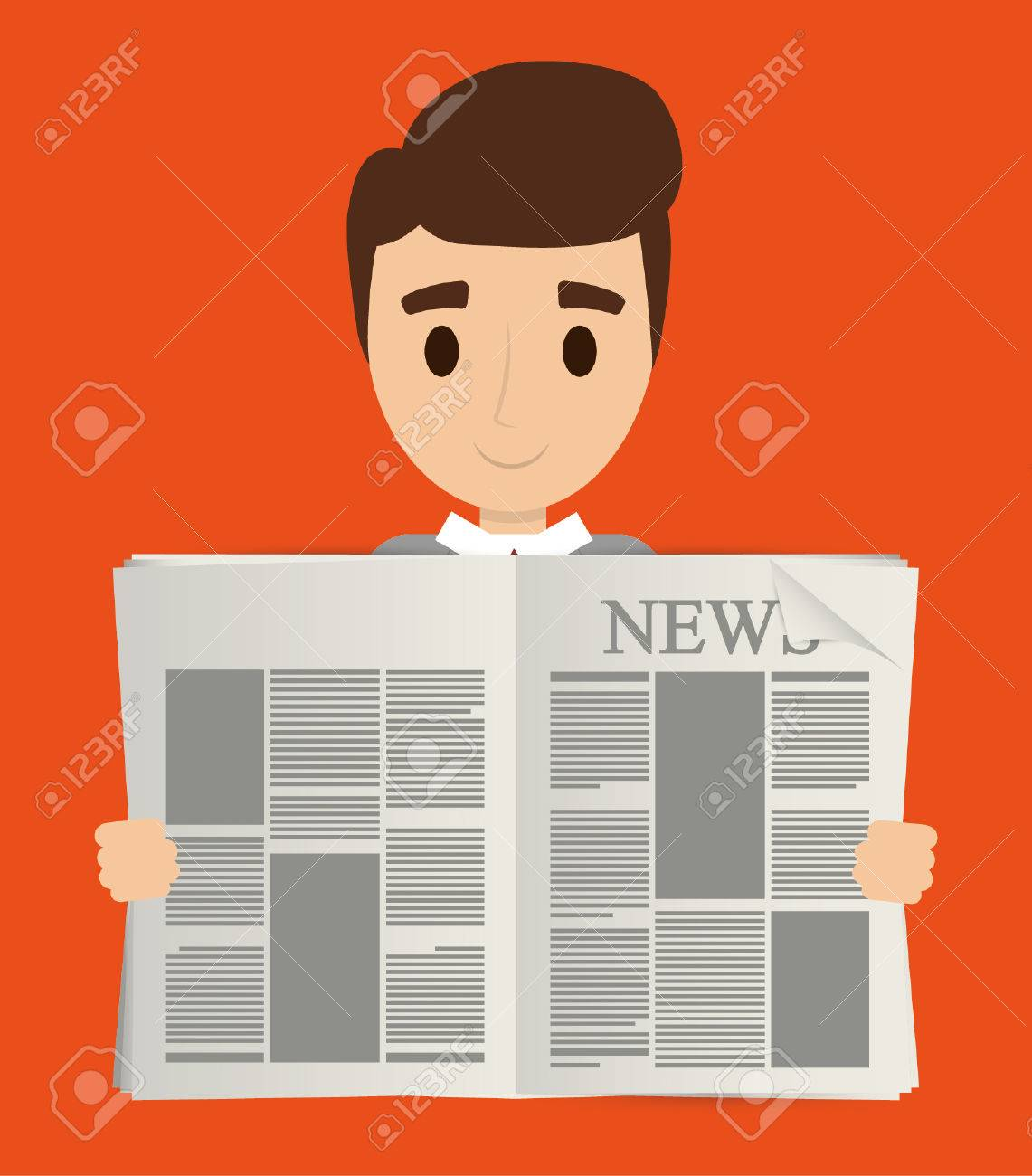man cartoon reading newspaper icon. news communication and media
