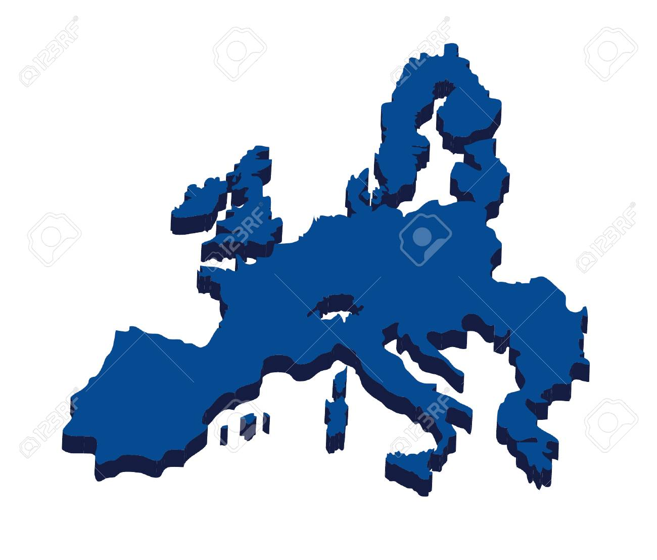 Europe Map Icon Nation And Government Theme Isolated Design