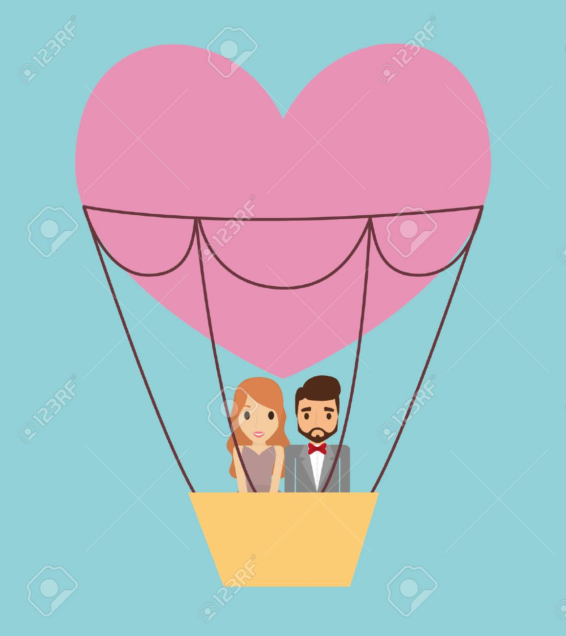 Couple Cartoon And Hot Air Balloon Icon. Save The Date Wedding ...