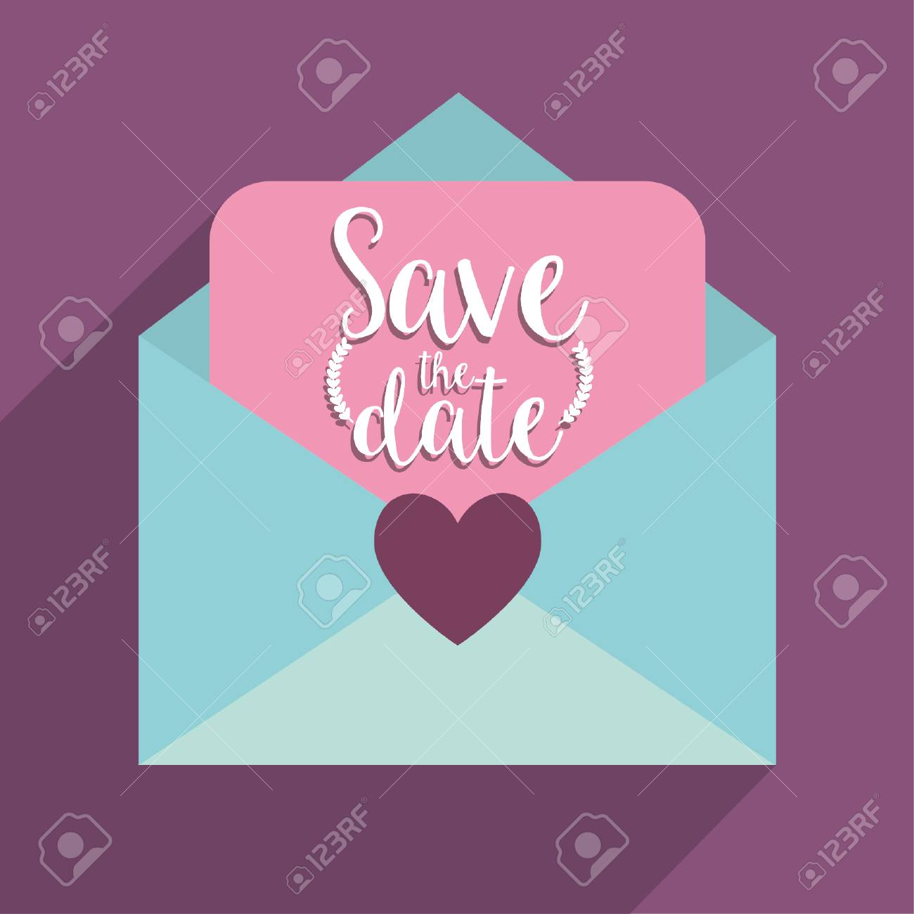 Love Letter Icon Save The Date Wedding And Marriage Theme Colorful