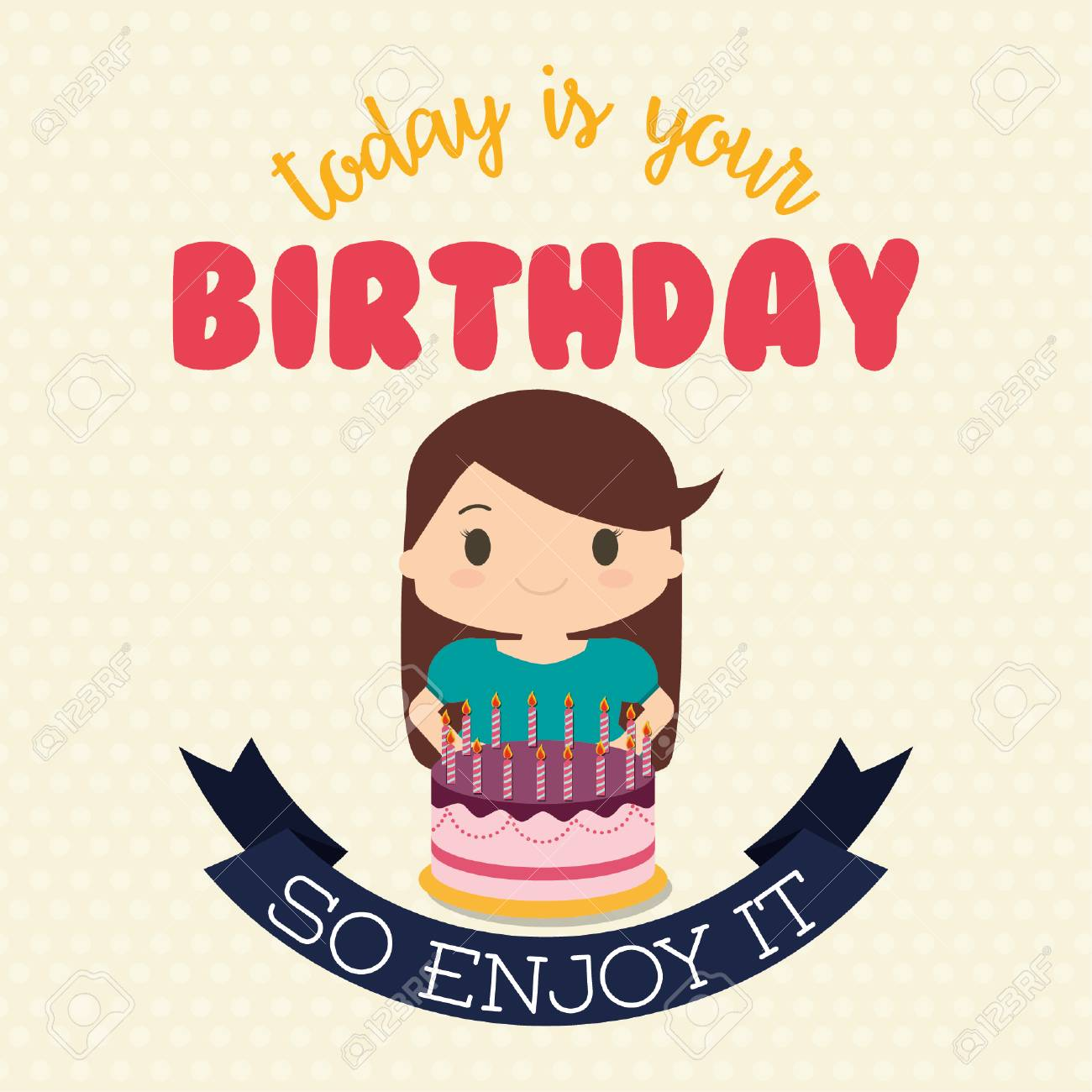 Girl cartoon with cake icon  Happy birthday celebration and card