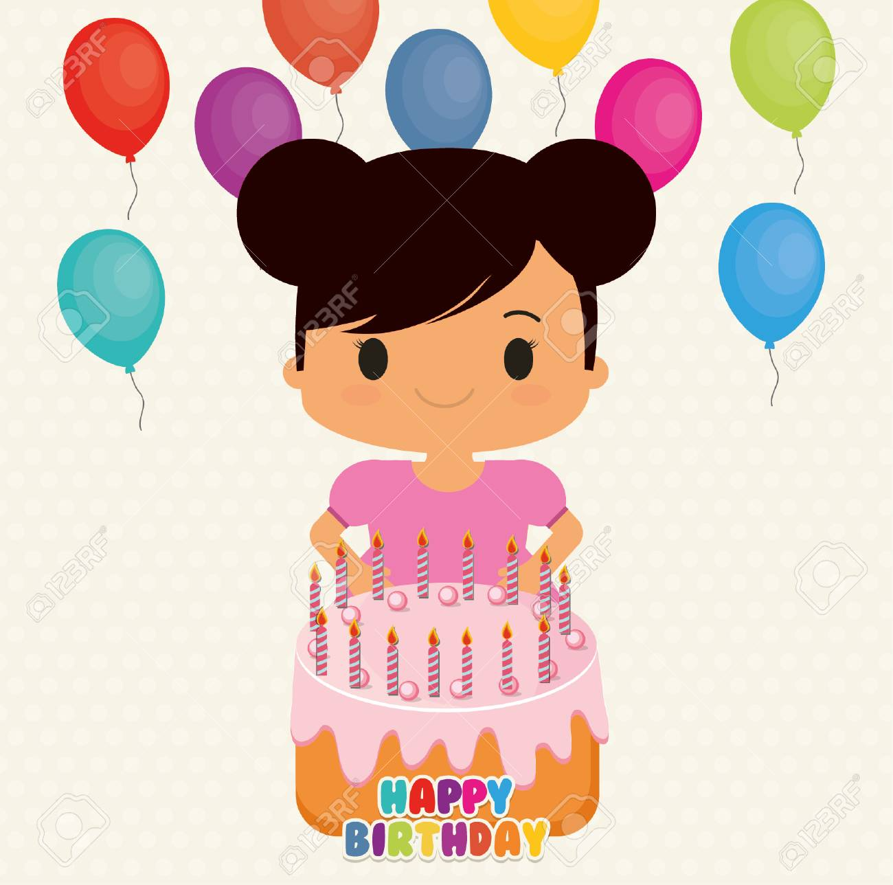 Girl Cartoon With Balloons Anc Cake Icon Happy Birthday Celebration And Card Theme Colorful