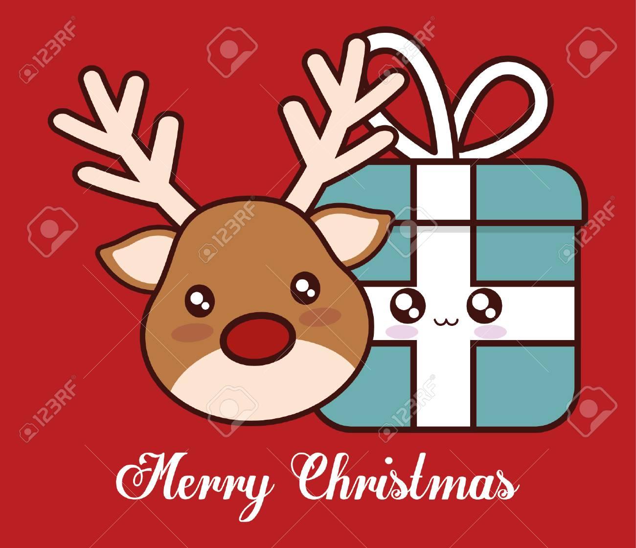 Rennes Kawaii Et Cadeau Icône Saison Décoration De Noël Et Le Thème