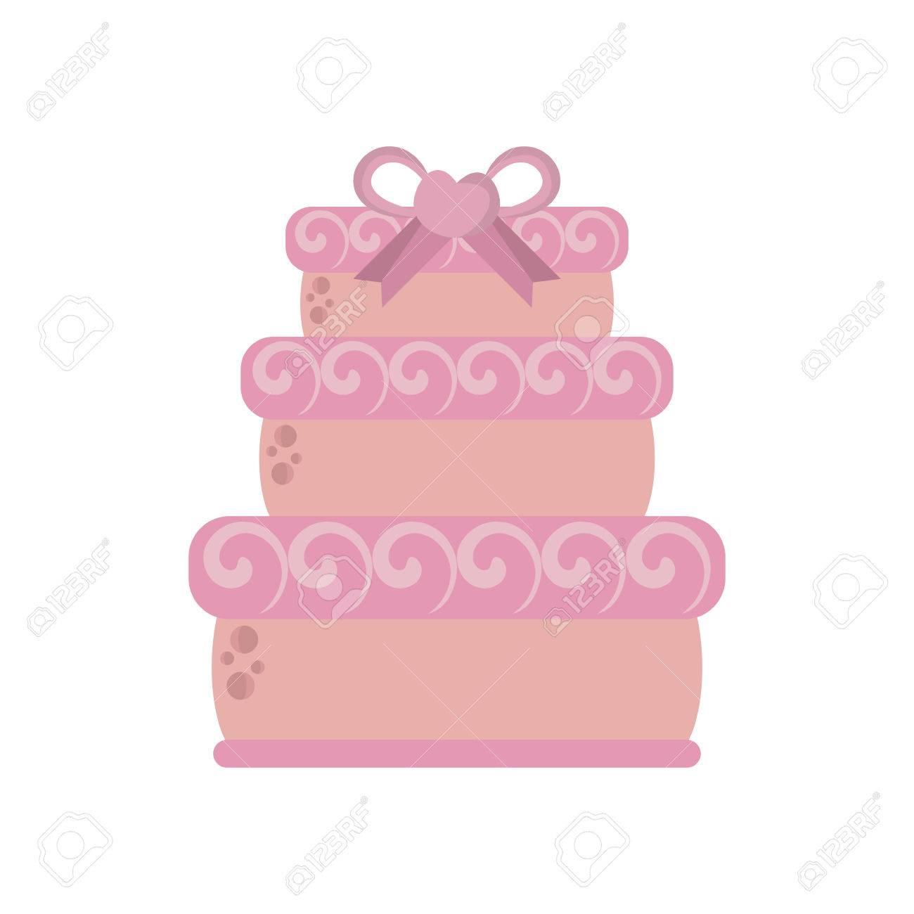 Grosse Hochzeitstorte Rosa Band Herz Vektor Illustration Lizenzfrei