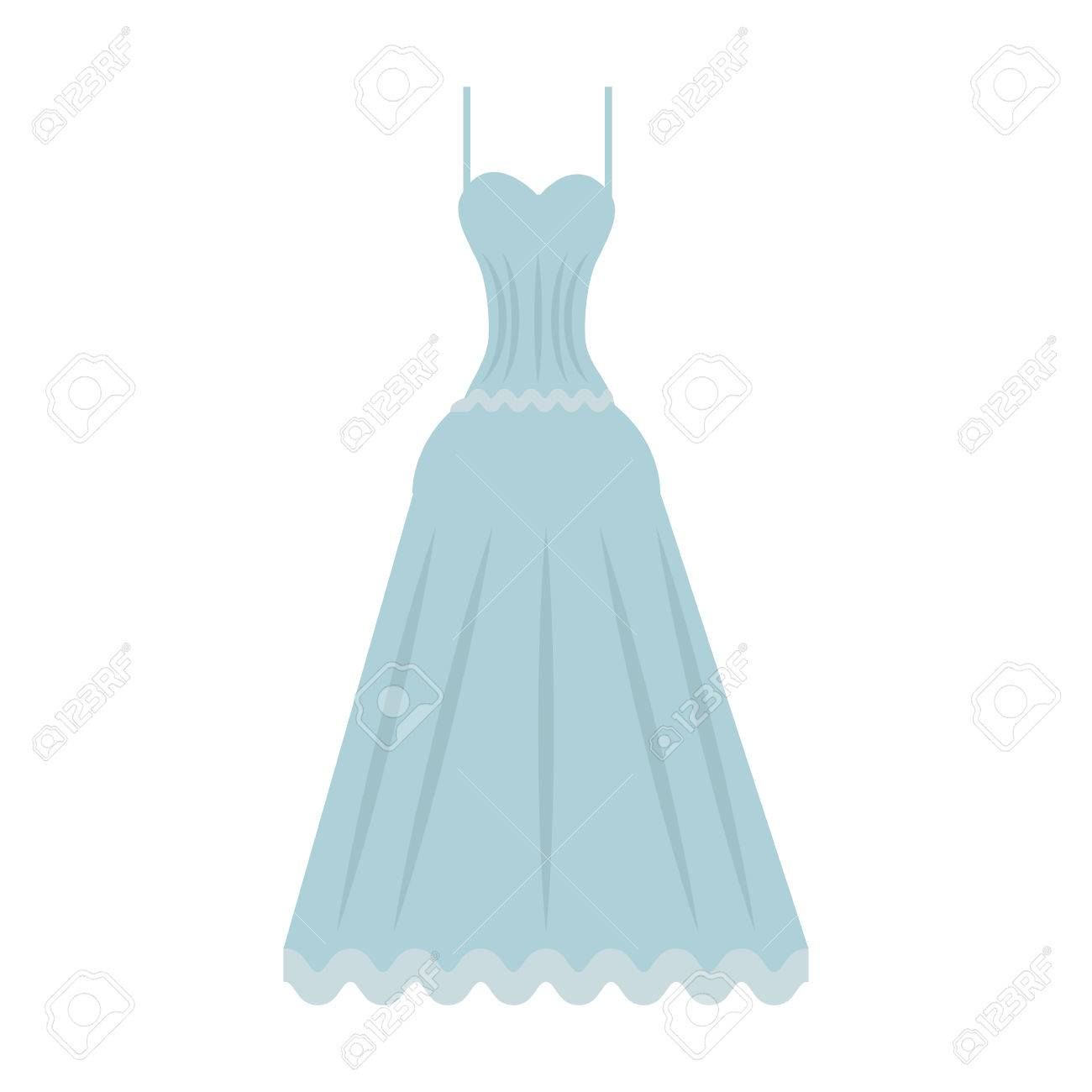 Cute Wedding Dress Icon Vector Illustration Royalty Free Cliparts ...