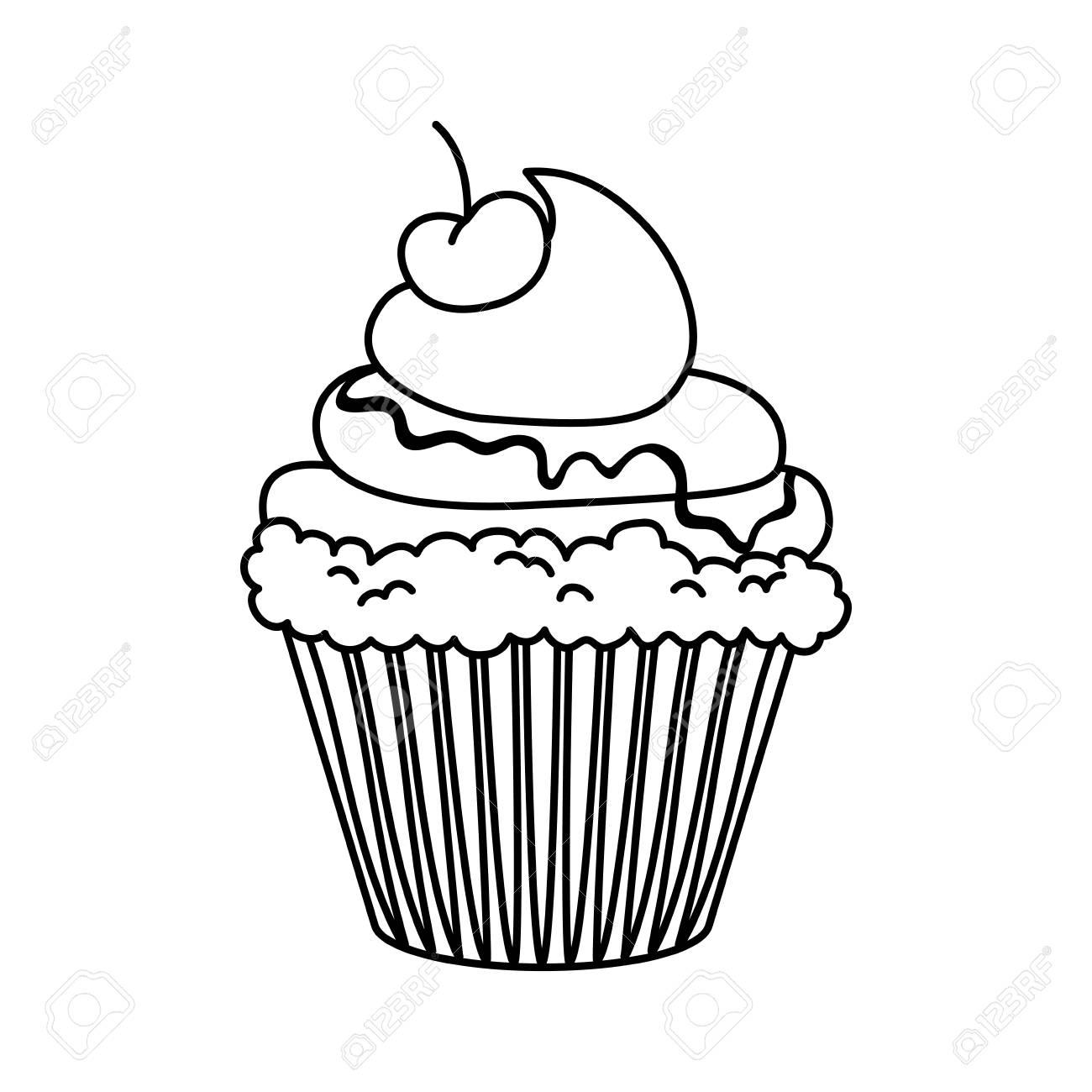 Kostliche Kuchen Nachtisch Symbol Vektor Illustration Grafik Design