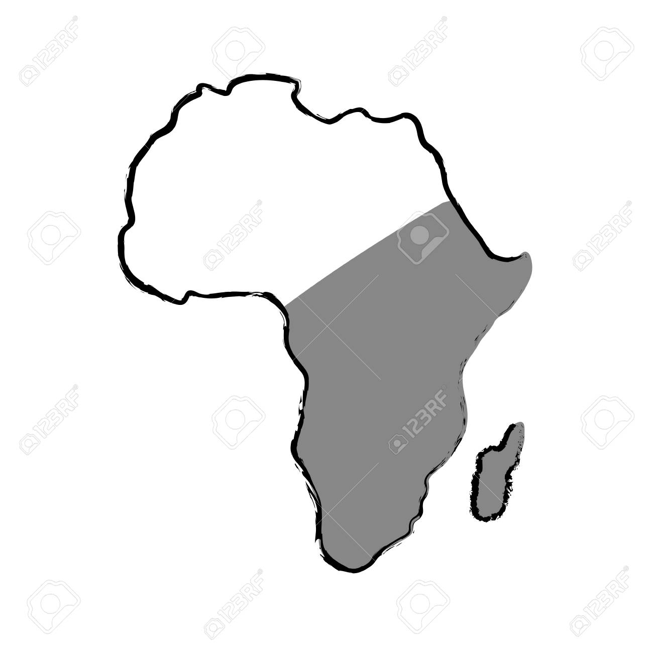 Africa Map Silhouette Vector.Africa Map Silhouette Icon Vector Illustration Graphic Design