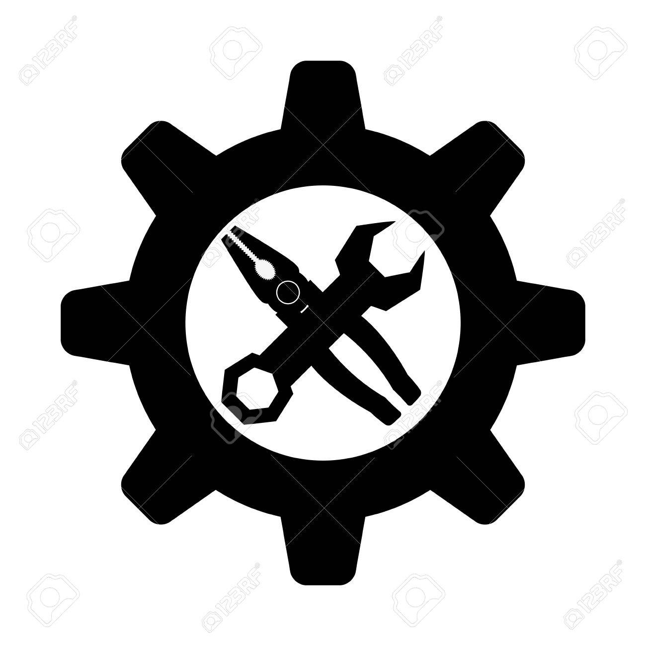 tool icon vector. wrench with gear and pliers tool icon image vector illustration design stock 67261894