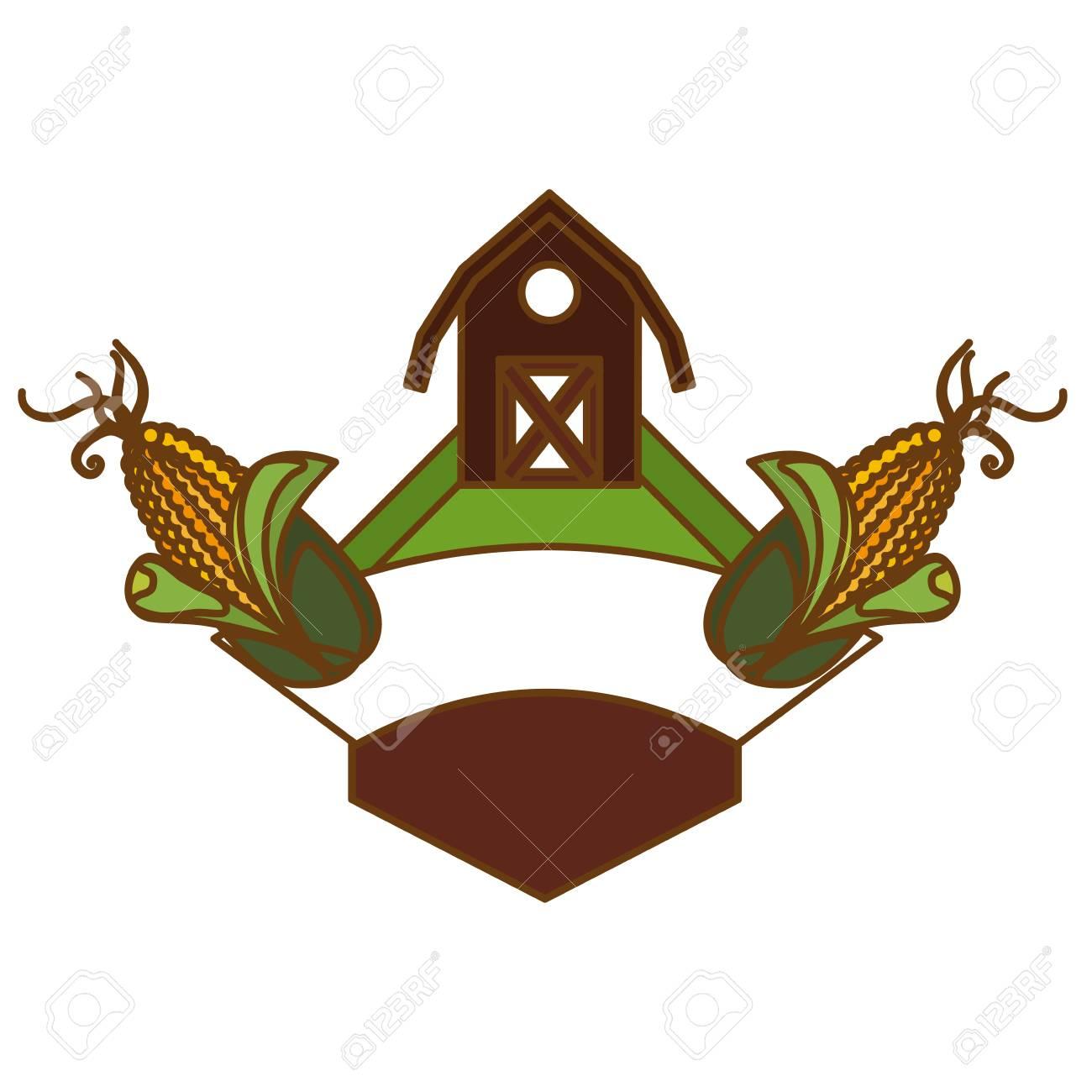 Rahmen Mit Bauernhof Scheune Und Mais-Symbol Auf Weißem Hintergrund ...