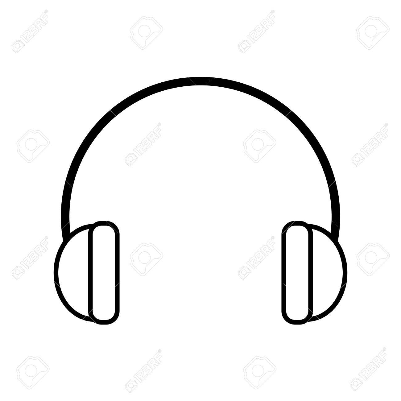 Outline Hearing Protection Industrial Element Vector Illustration