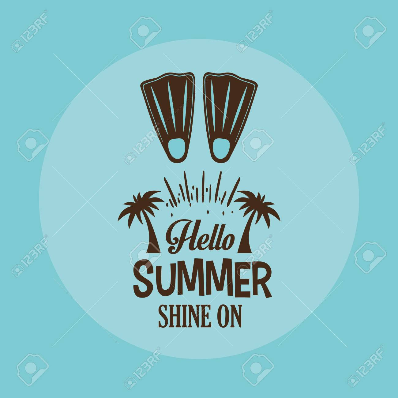 Hello Summer Card Shine One With Flippers Blue Background Vector  Illustration Eps 10 Stock Vector