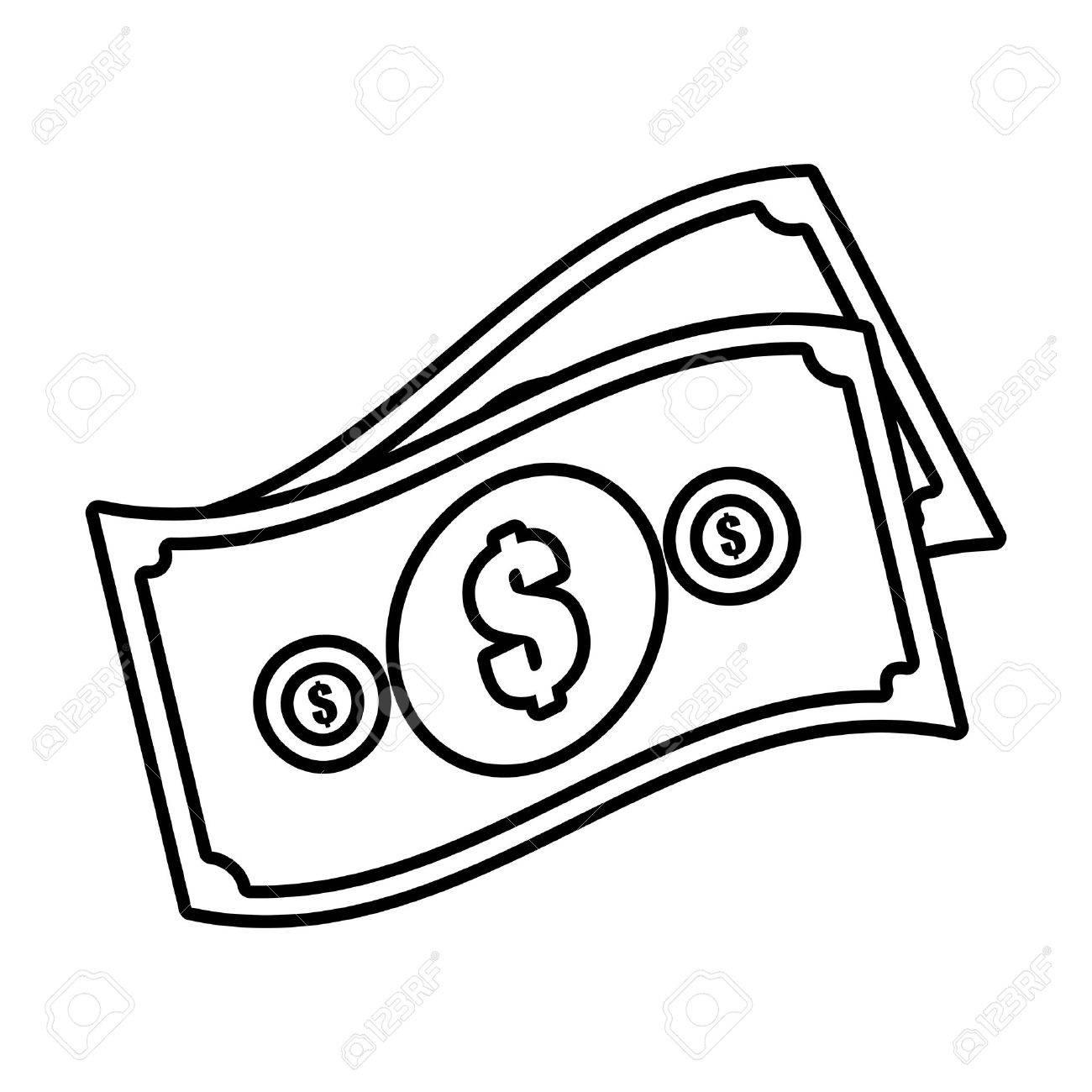 money bills cash dollar design outline vector illustration eps rh 123rf com