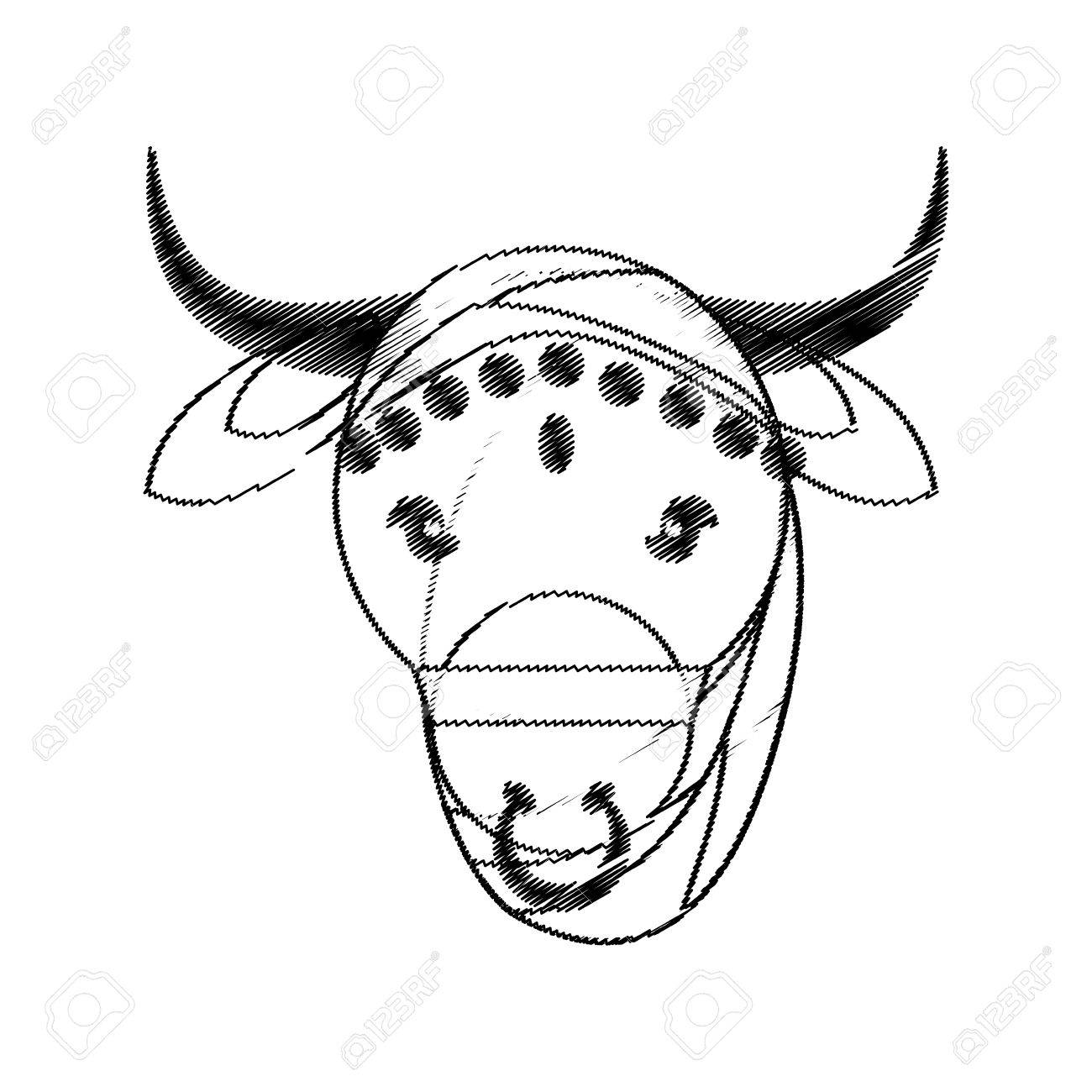 Head Indian Sacred Cow Fertility And Maternity Symbol Vector